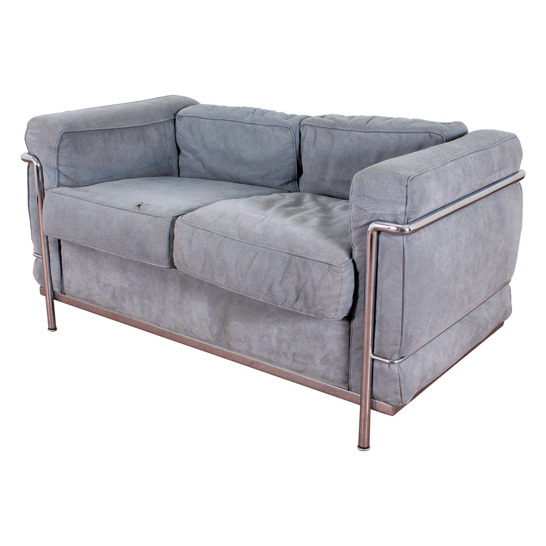 Le Corbusier LC2 by Cassina Two-Seat Gray Chamois Leather Sofa, Italia, 1970s