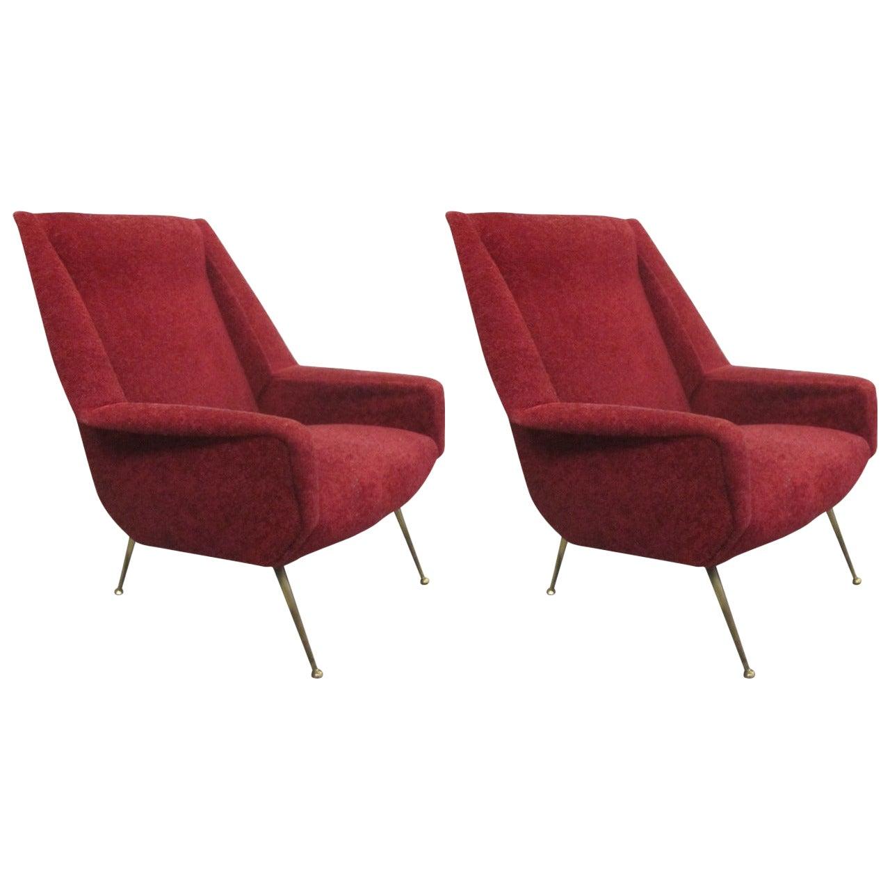 Italian Mid-Century Modern Lounge Chairs Attributed to Gianfranco Frattini, Pair