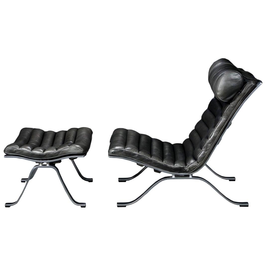 Arne Norell 'Ari' Lounge Chair and Ottoman in Original Black Leather