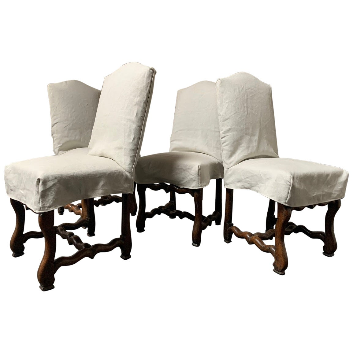 Set of 4 19th Century Walnut French Chairs