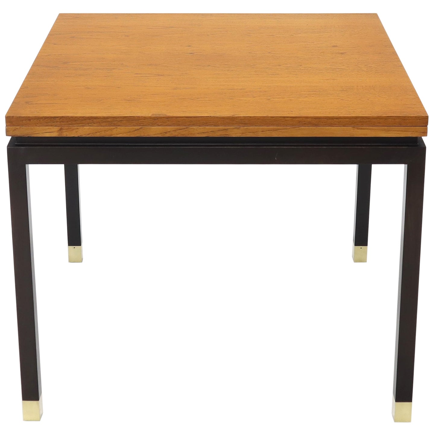 Flip Top Expandable Square Game Table on Parsons Ebonized legs with Brass Tips
