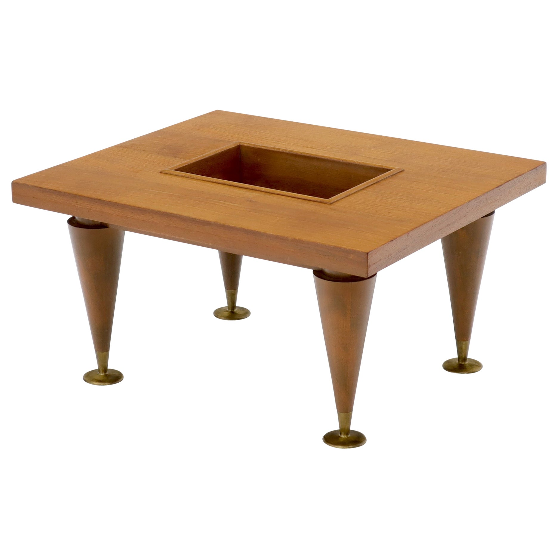 Walnut Rectangular Small Coffee or Occasional Side Table with Planter or Storage