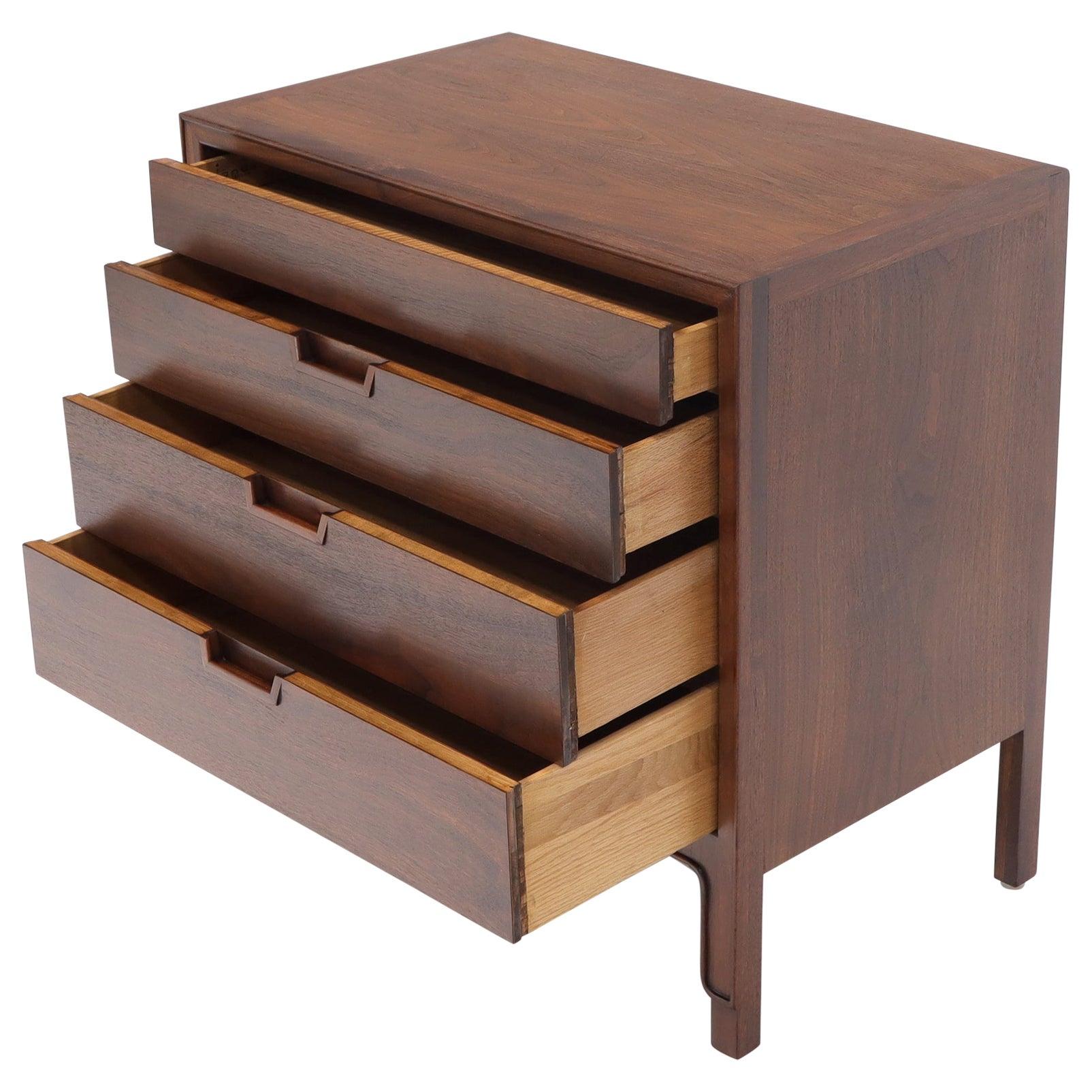 John Stuart Walnut 4 Drawer Bachelor Chest Small Dresser