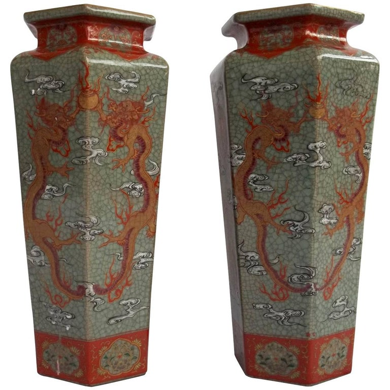 Pair of Large Chinese Porcelain Vases with hand painted dragons Qing Circa 1900