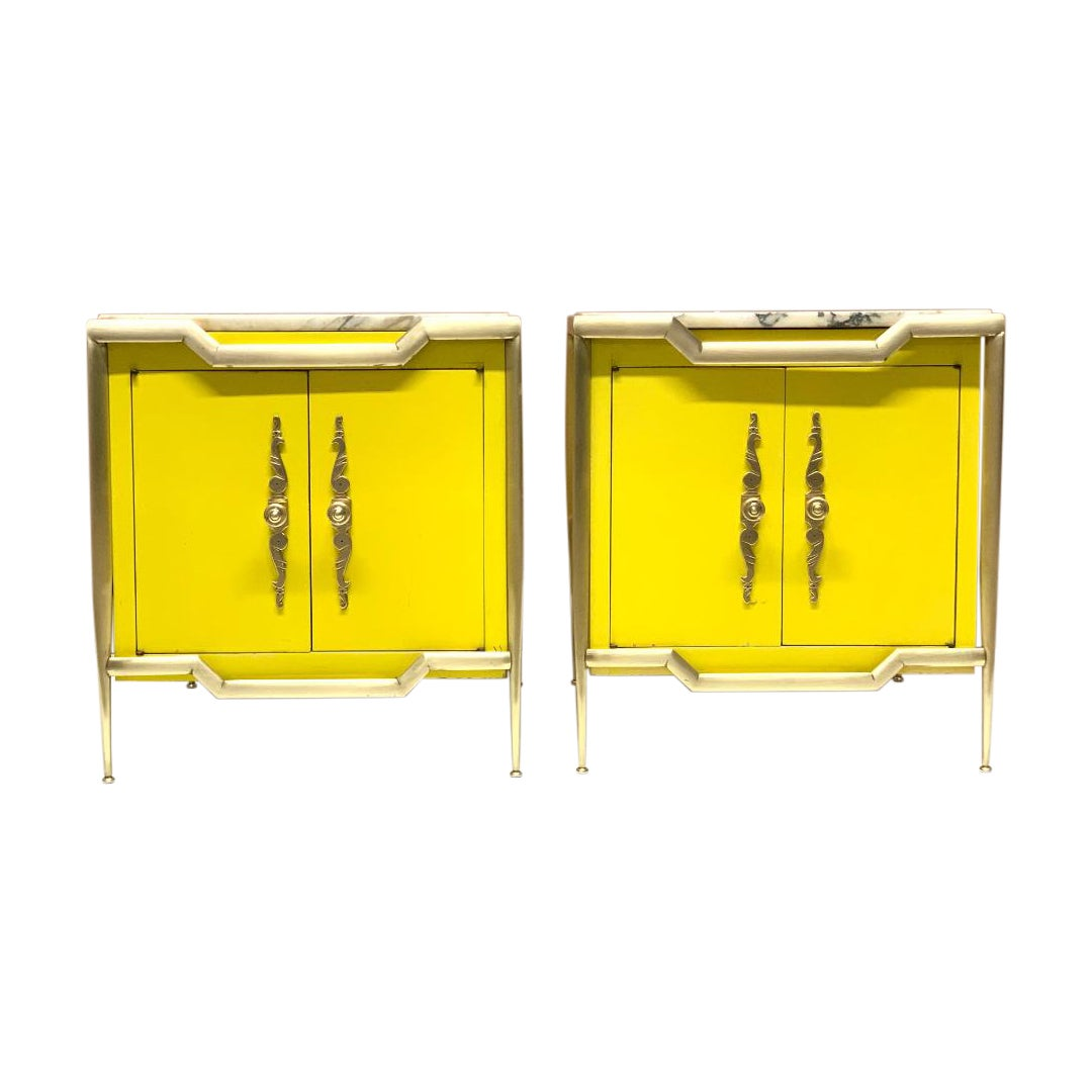 Pair of Italian Brass Cabinets with Marble Tops