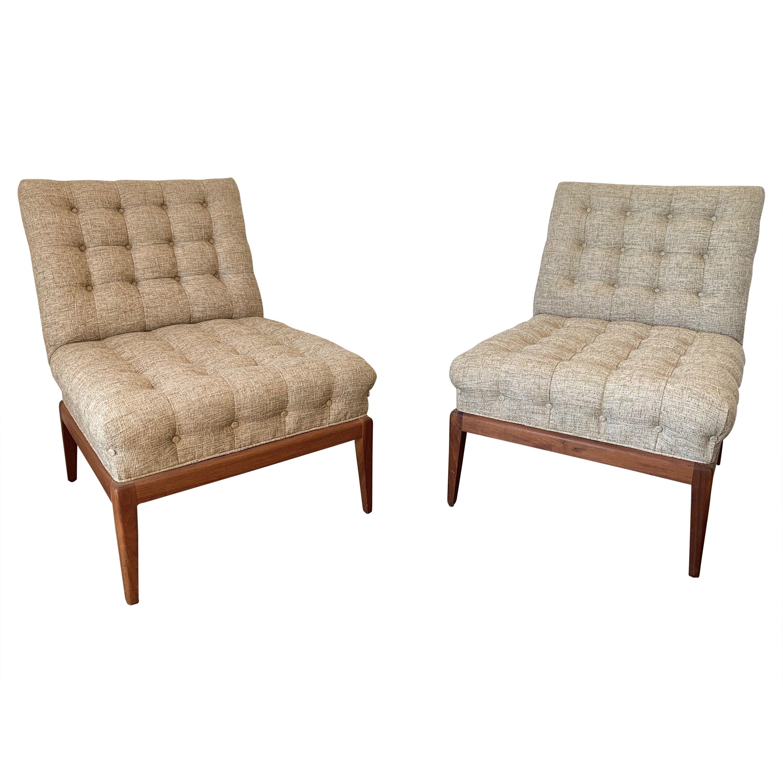 Pair of Tufted Slipper Chairs by Kipp Stewart