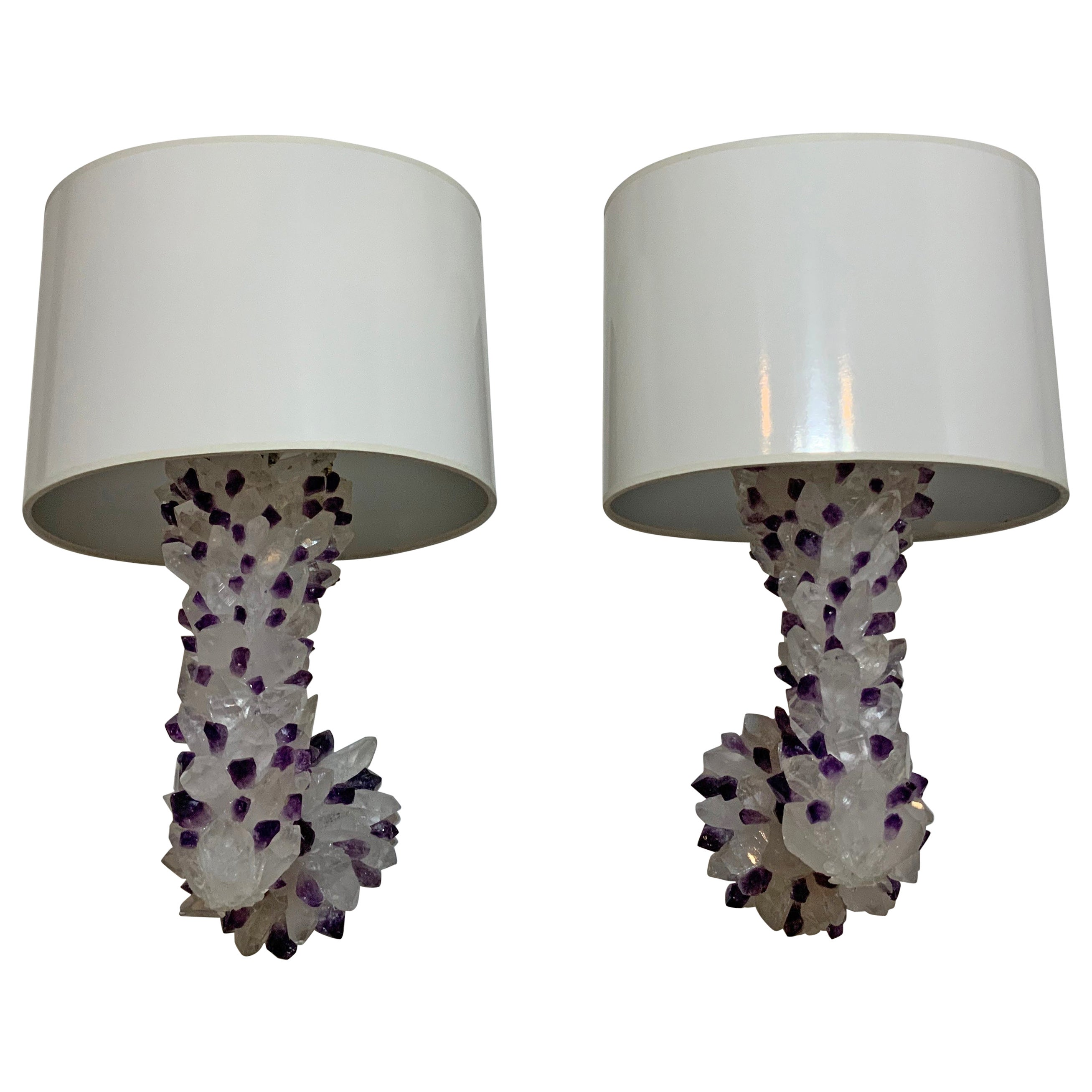Pair of Amethyst and Crystal Quartz Wall Sconces