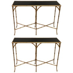 Two French Midcentury Gilt Iron Faux Bamboo Consoles in Maison Baguès Style