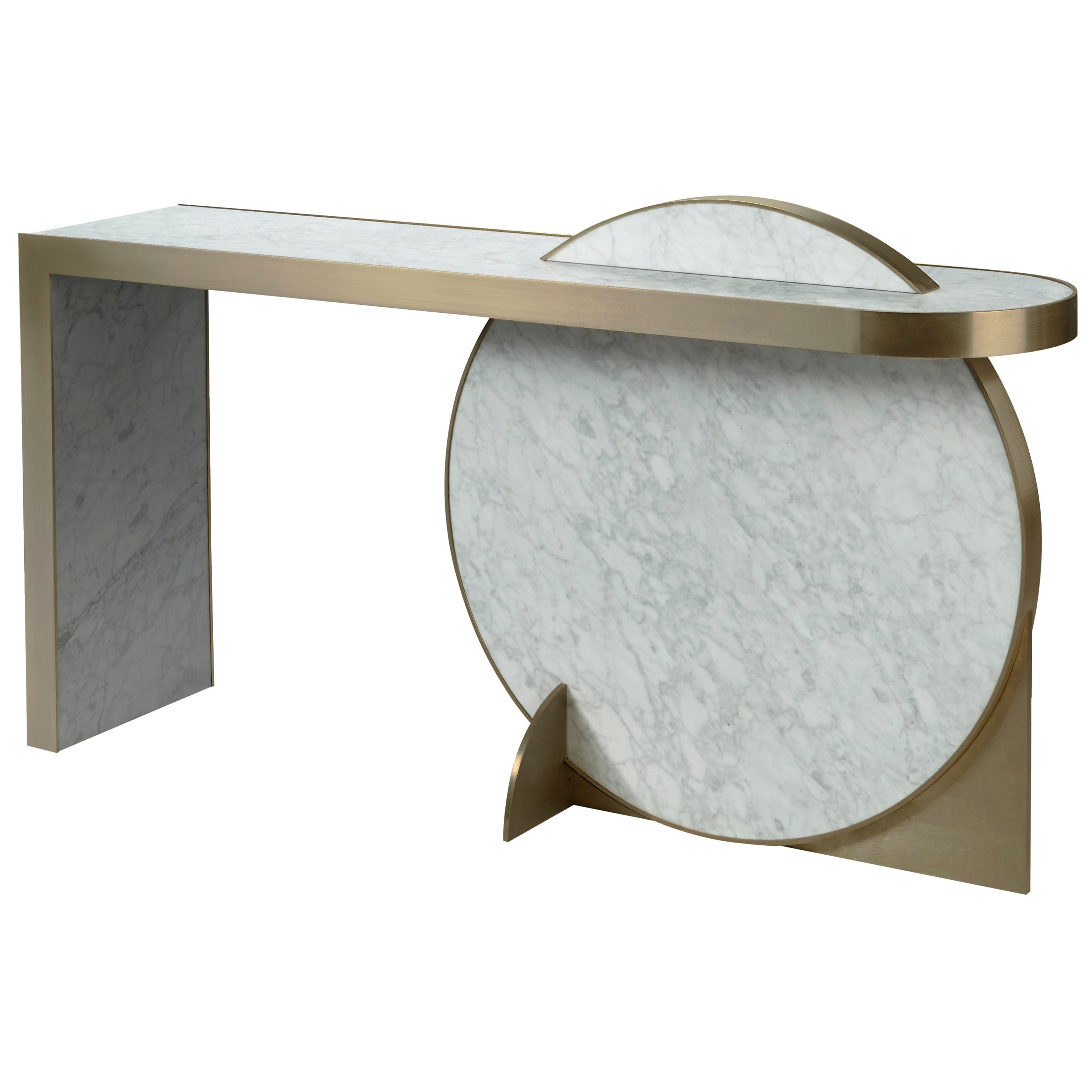 The Collision Console Carrara Marble and Brushed Brass, Snow, by Lara Bohinc
