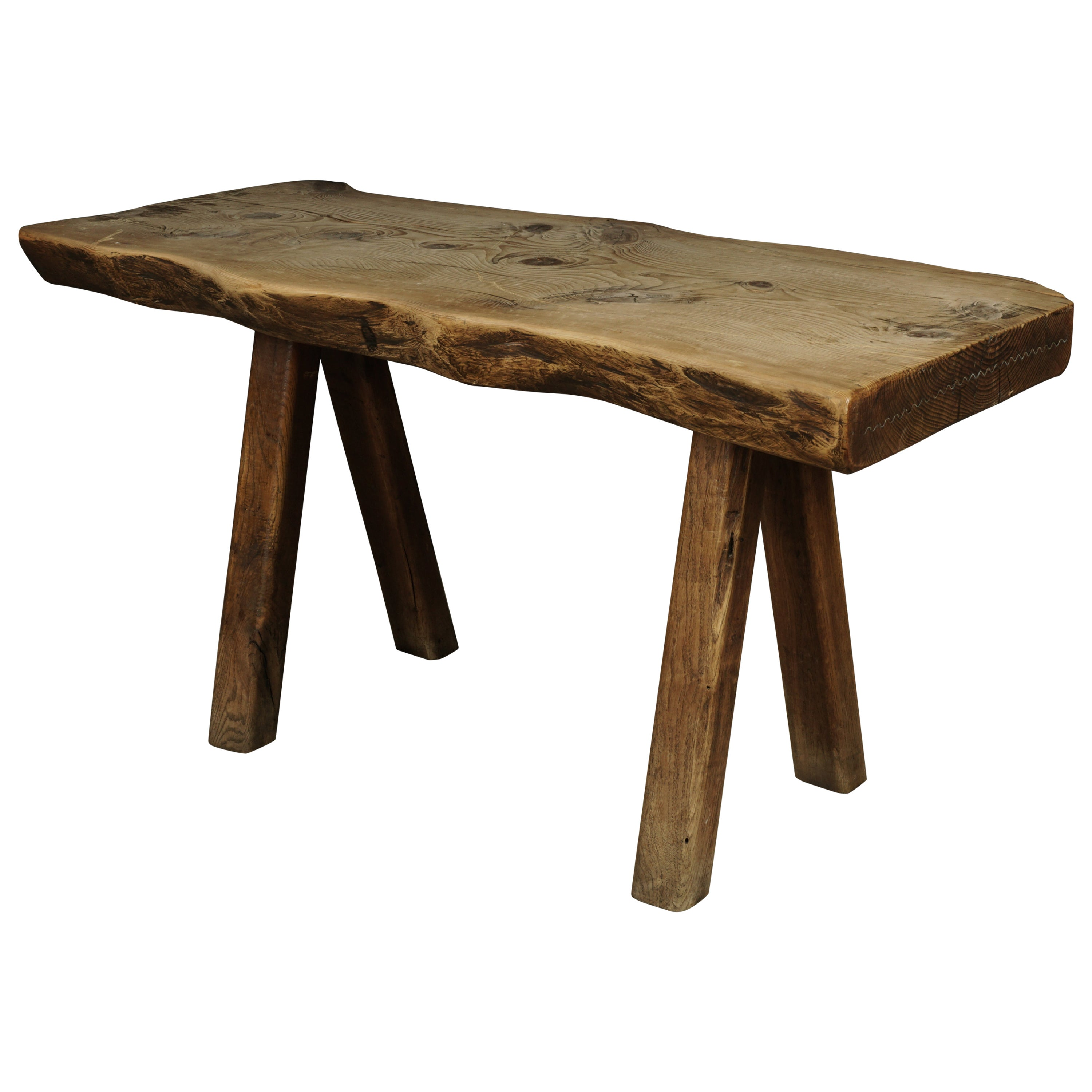 Rare Solid Pine Dining Table from a Bistro in France, circa 1950