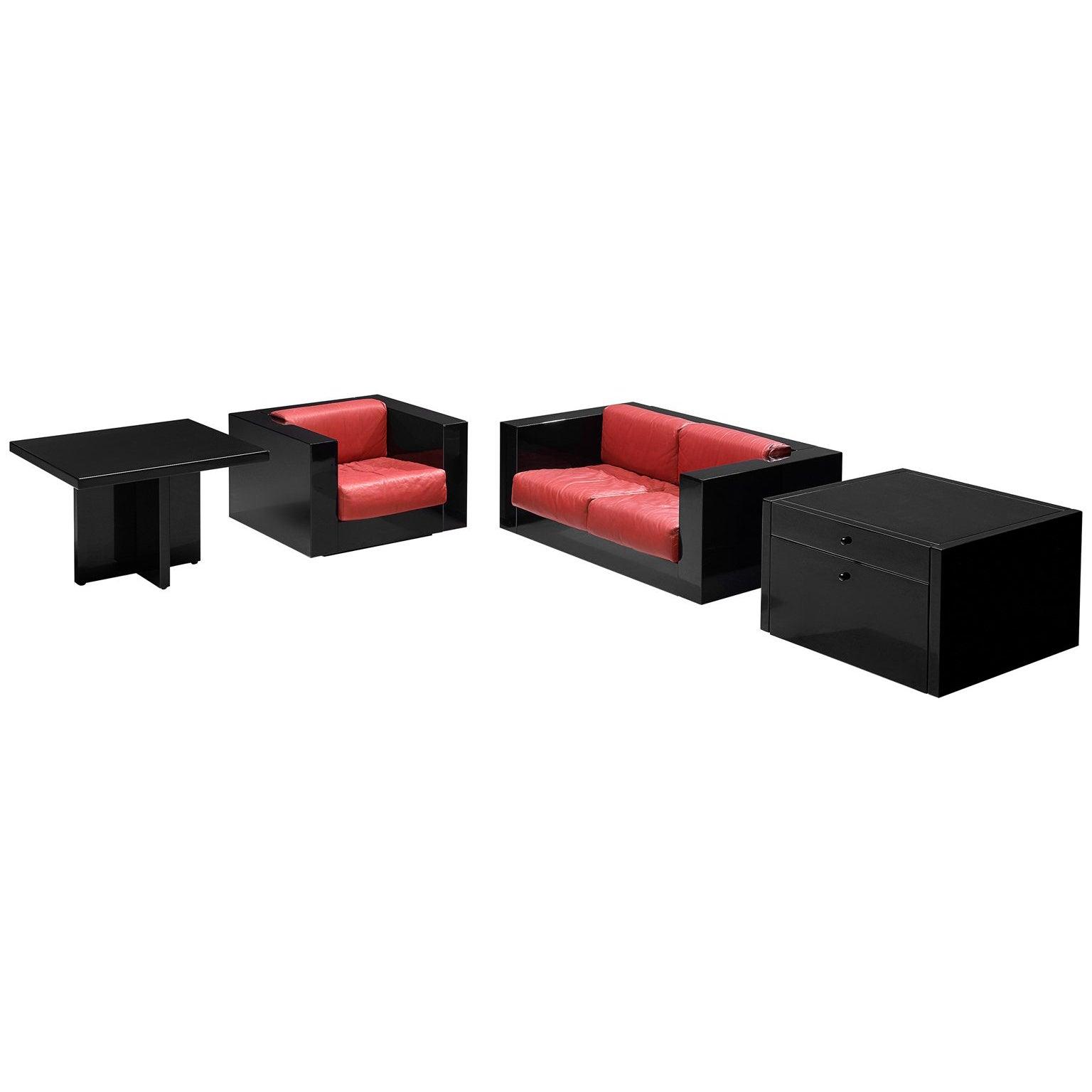 Massimo Vignelli Black and Red 'Saratoga' Living Room Set