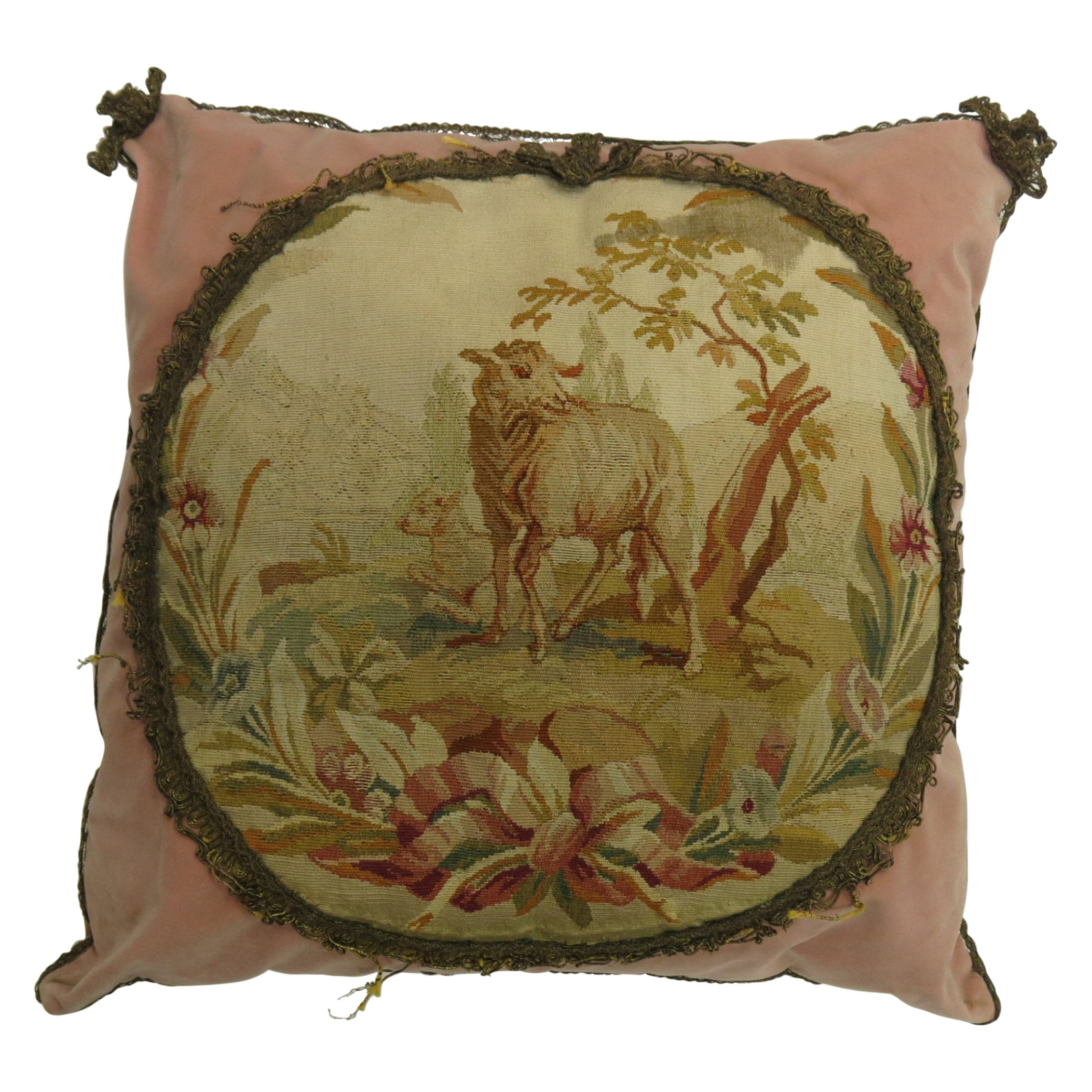 Pink Tassle 19th Century Antique French Aubusson Goat Pillow