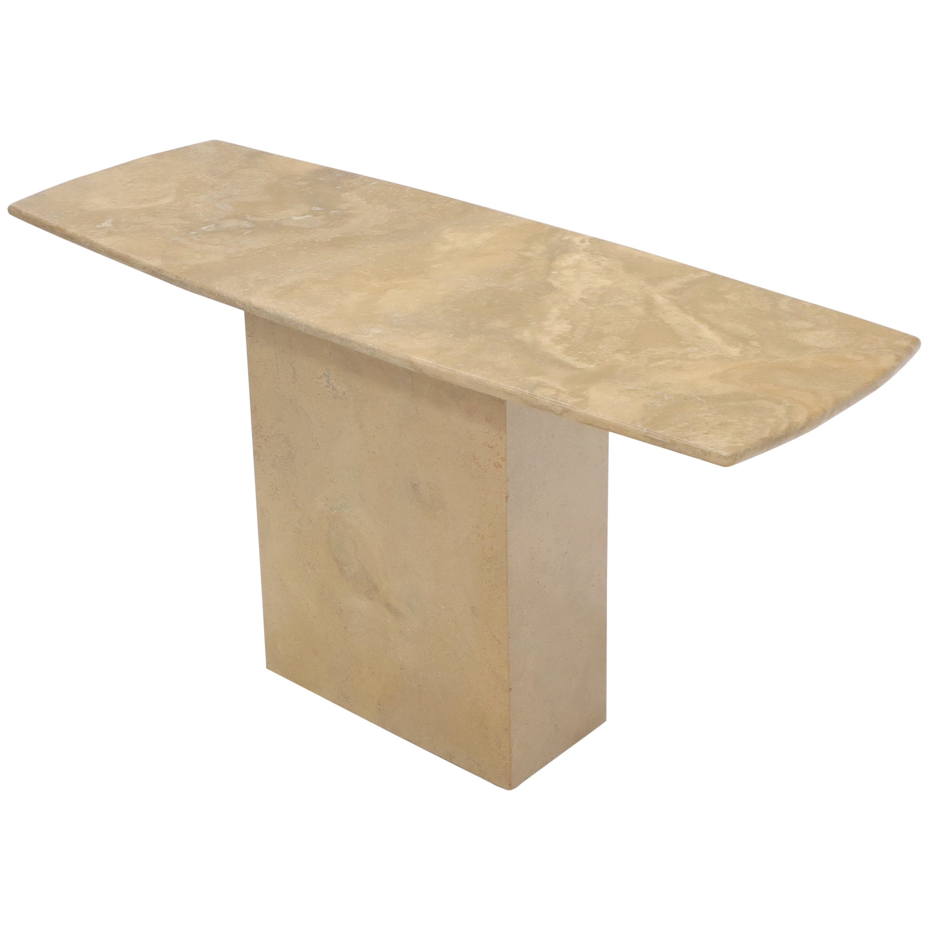 Mid-Century Modern Marble or Travertine Single Pedestal Console