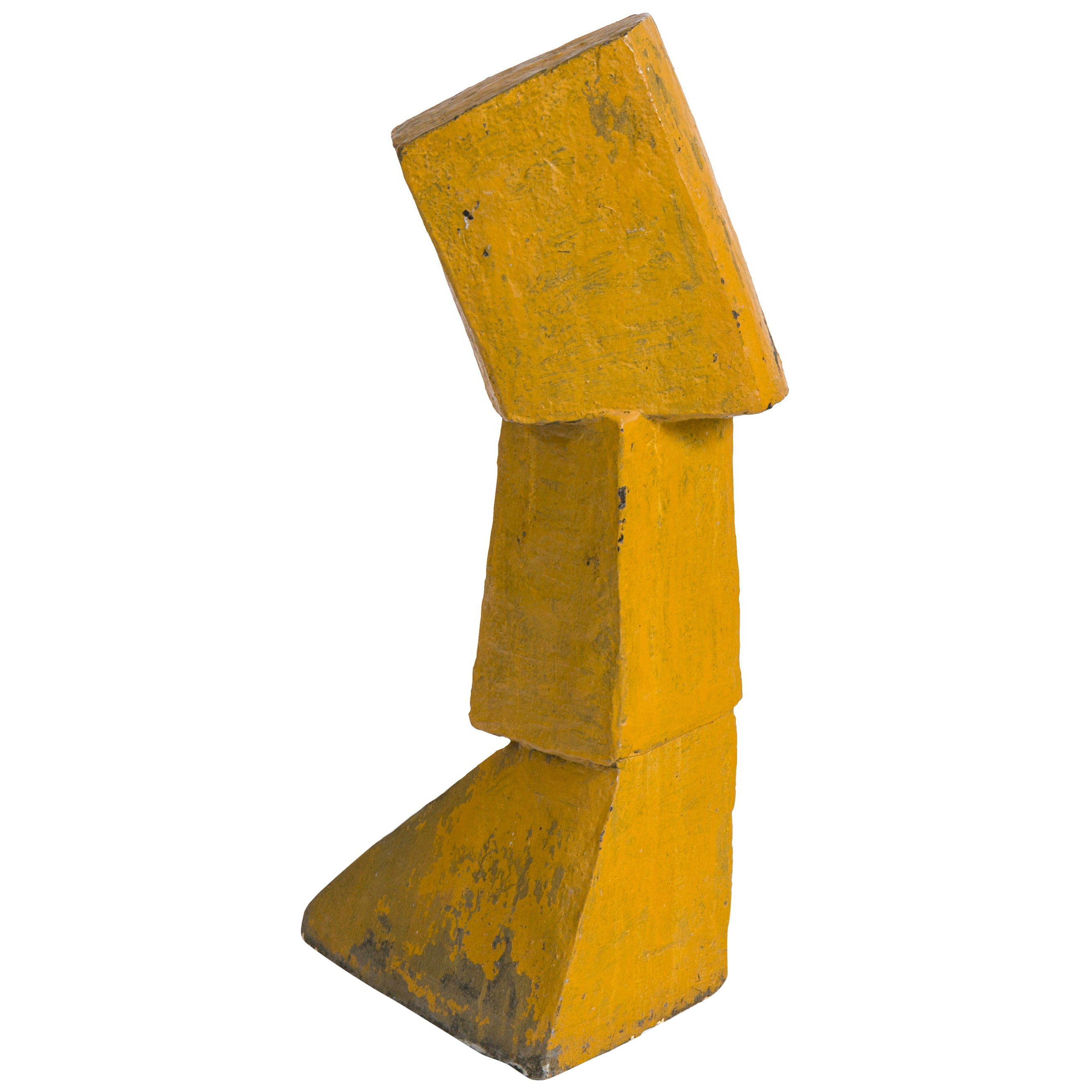 Bent Sorensen Abstract Yellow Ceramic Sculpture, Denmark 1970s