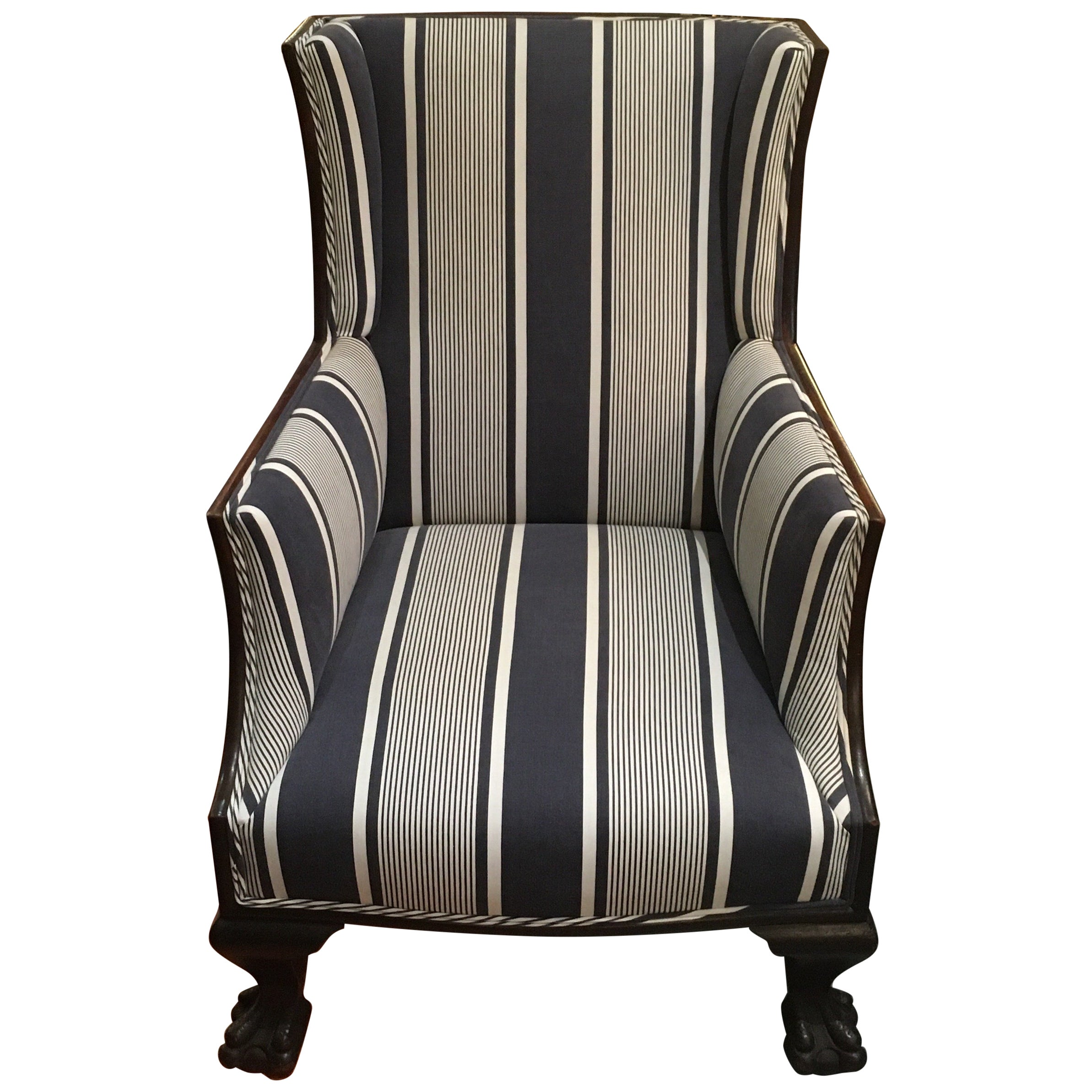 Antique Lion Paw Armchair in French Stripe Fabric