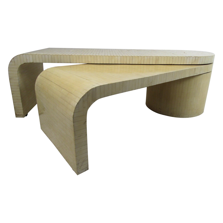 Midcentury Enrique Garcel Tessellated Bone Expanding Coffee Table