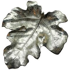 Mid-Century Brass Signed Leaf Sculpture Tray, circa 1970