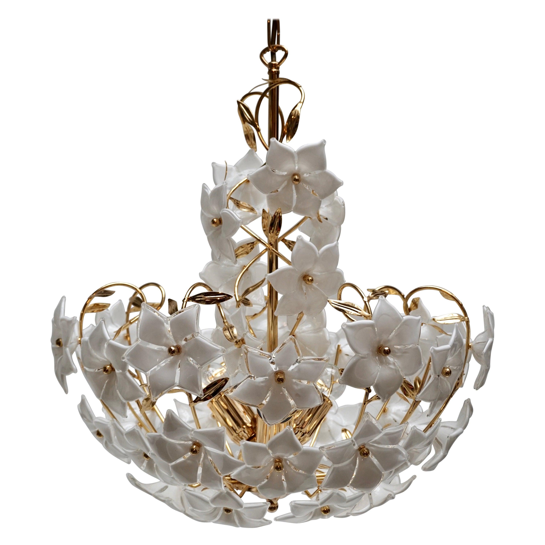 Three Italian Murano Glass Flower Bouquet Gilt Brass Chandeliers