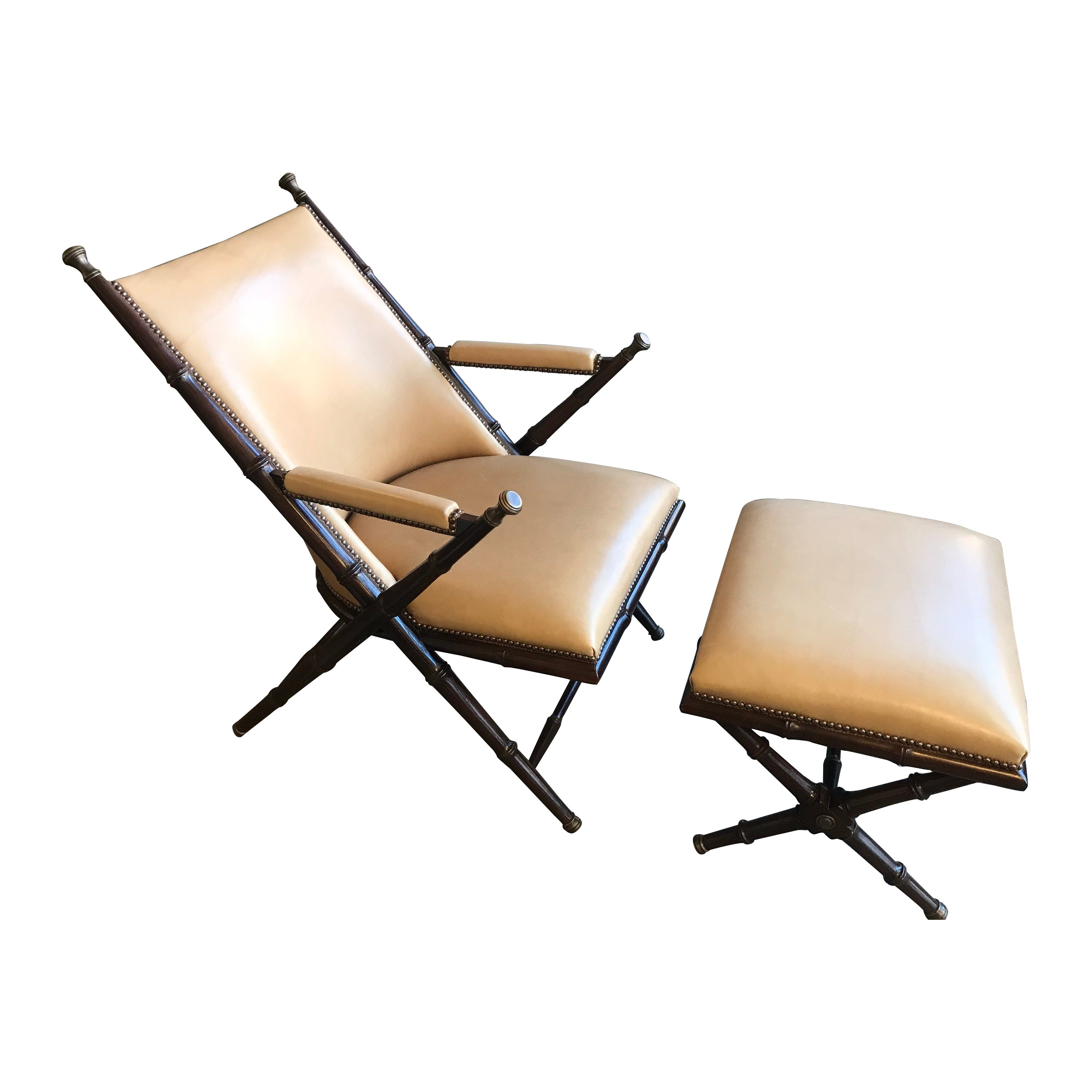 Bamboo, Brass and Leather Lounge Chair and Ottoman by Hickory Chair Co.