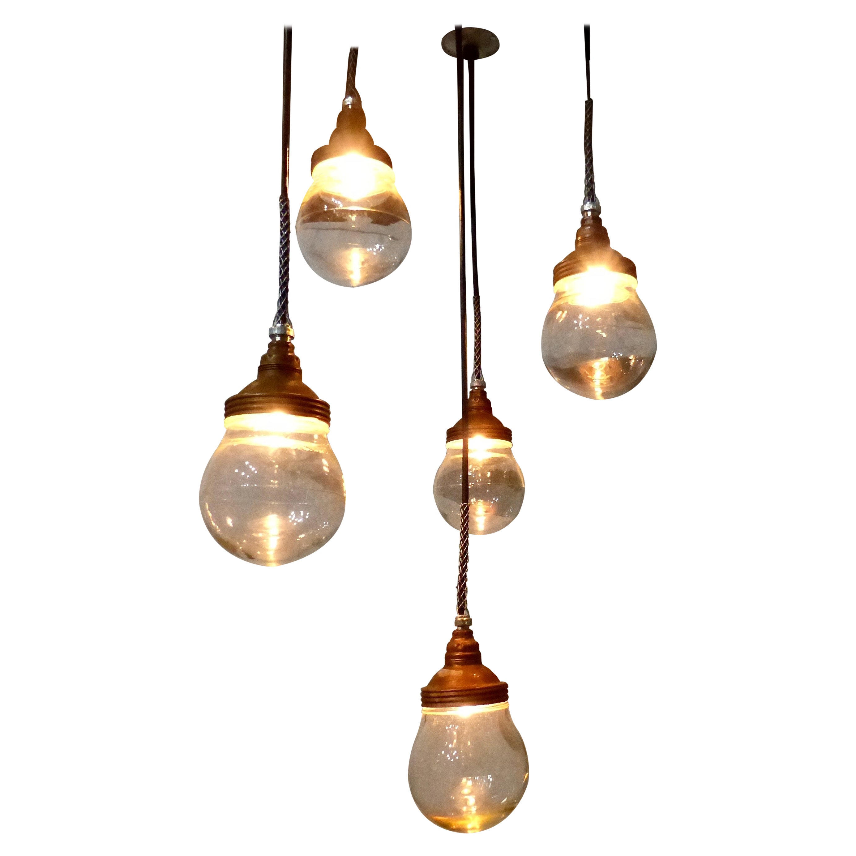 Copper Benjamin Pendant Lights, circa 1920