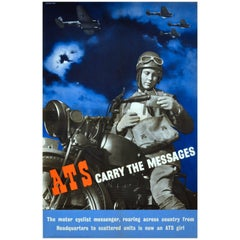 "Original Vintage World War II ATS Recruitment Poster, ""ATS Carry the Messages"""