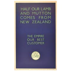 Original 1930s Empire Marketing Board Poster, New Zealand Lamb and Mutton