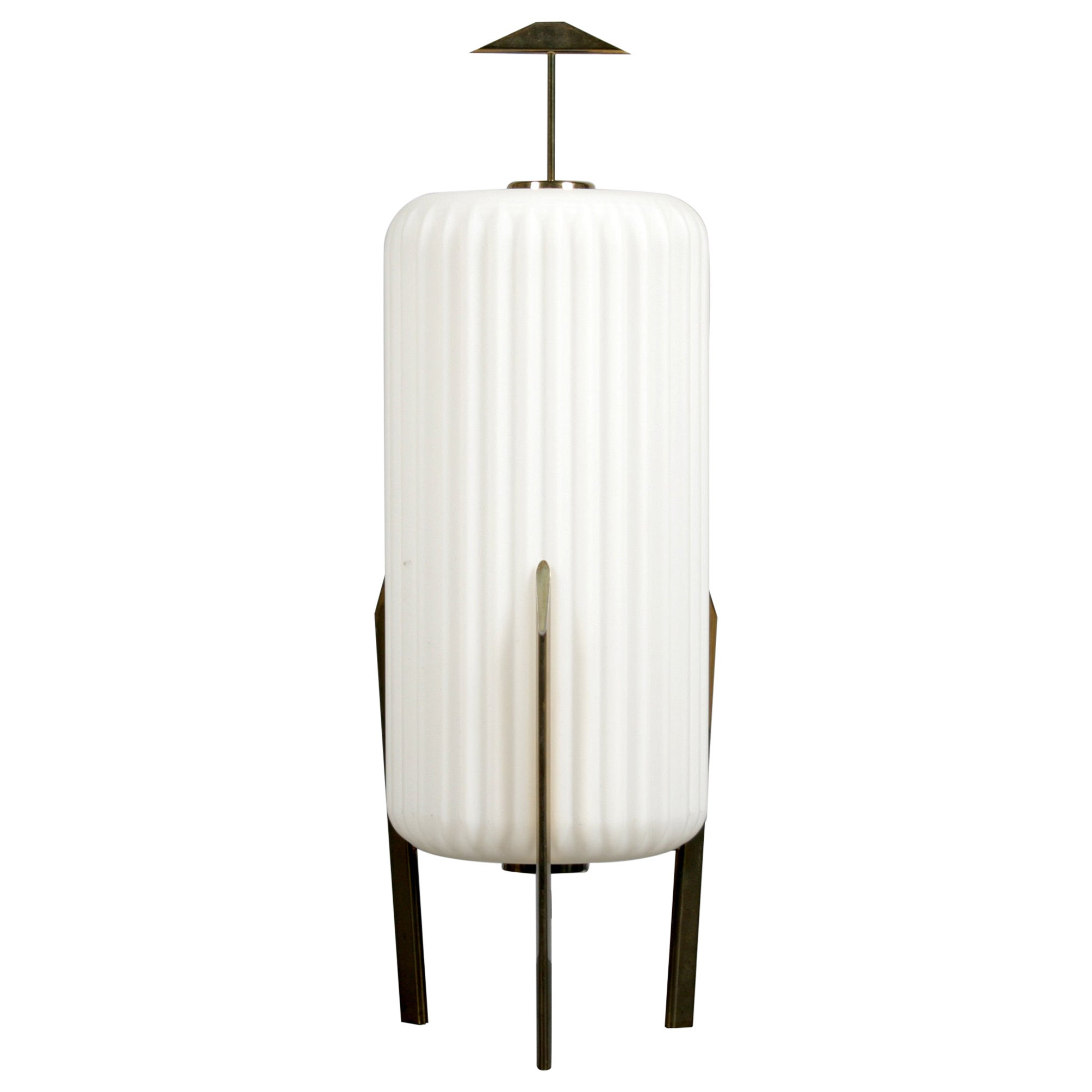 Mid Century Modern Table Lamp with Opaque Glass Shade attributed to Arteluce