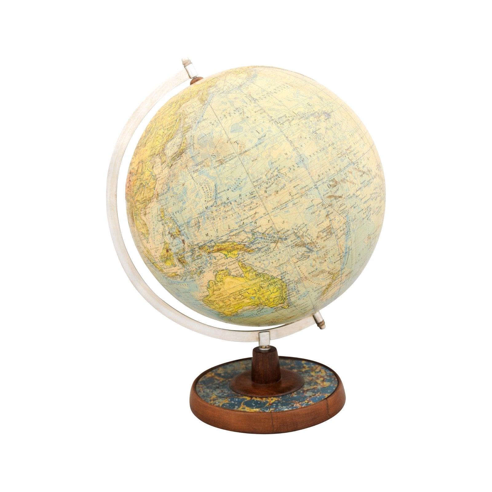 German 1890s Terrestrial Globe on Wooden Base Signed Professor Dr. Arthur Krause