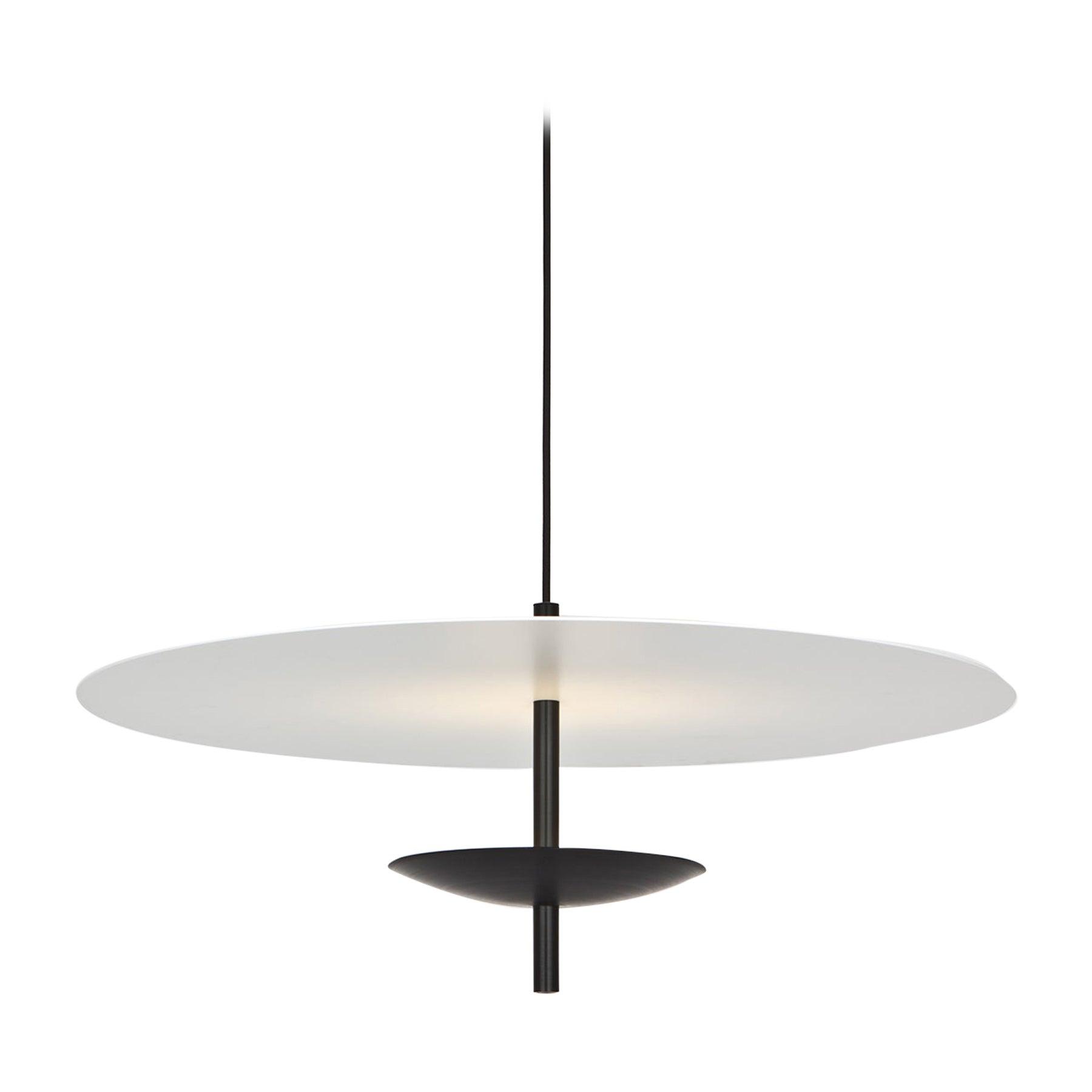 Reflector LED Pendant Light, Anodized Aluminum, Black, White Shade