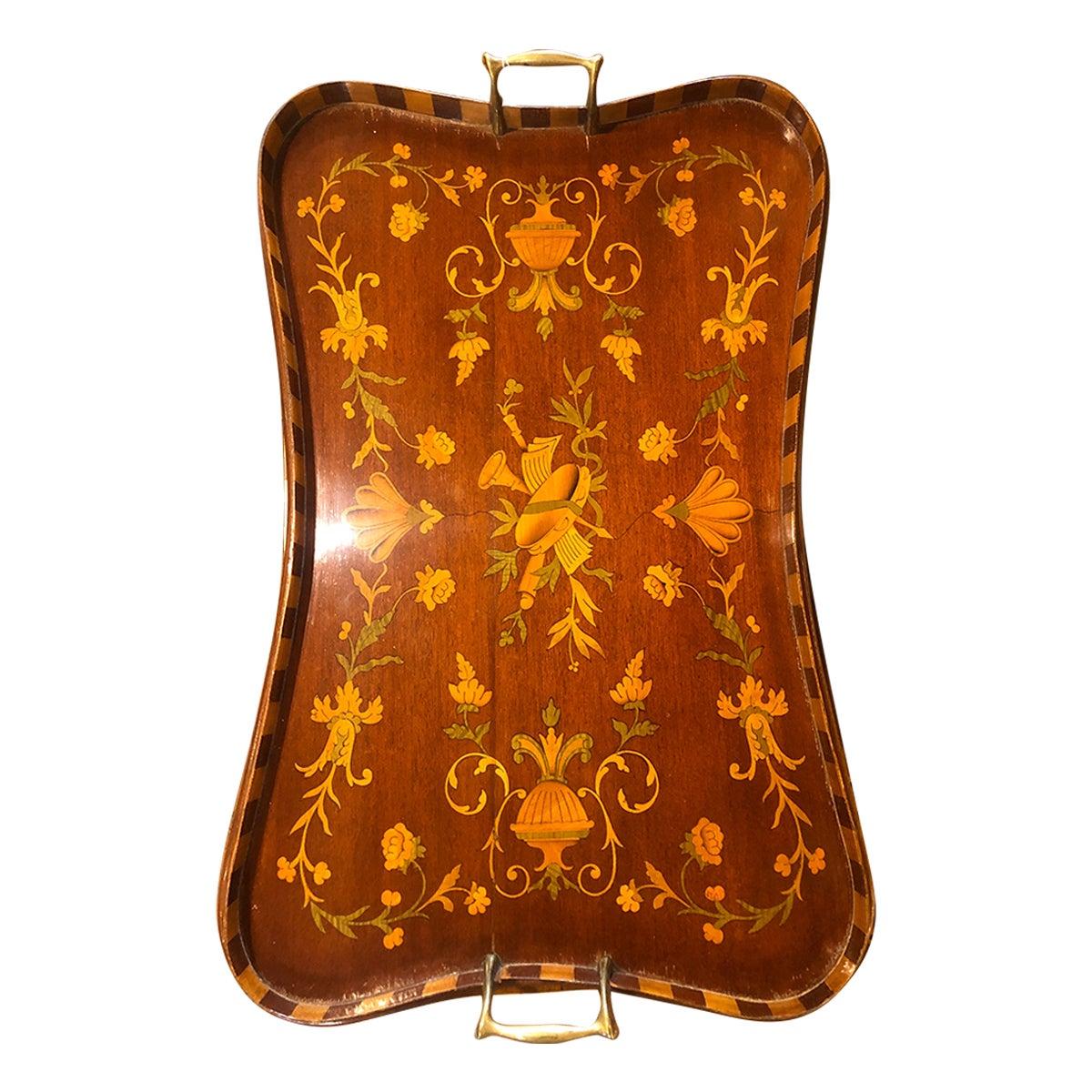 19th Century George III Wood Mahogany Inlay Tea Tray Tables Dishes, 1820s