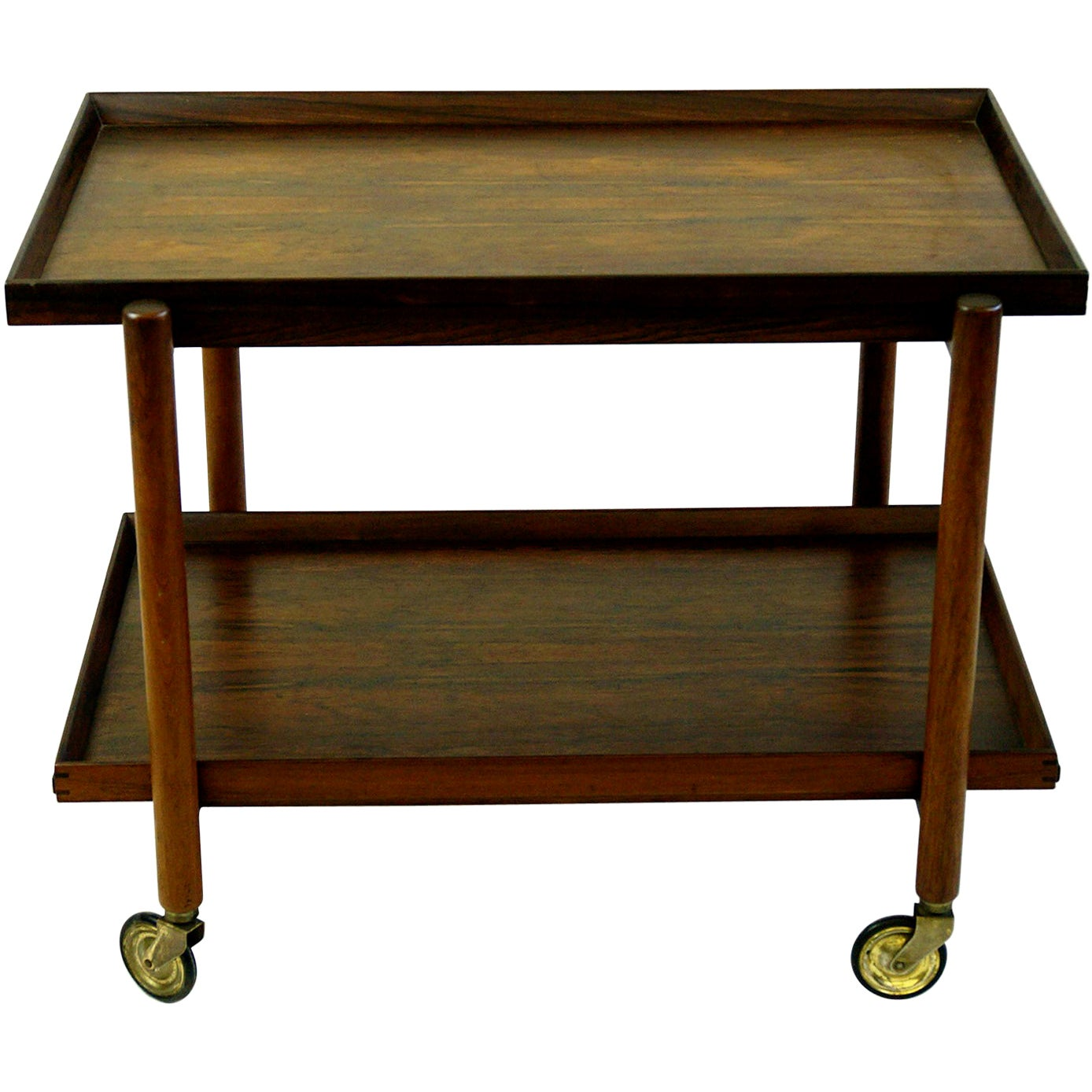 Scandinavian Modern Rosewood Serving Trolley or Bar Cart by Poul Hundevad