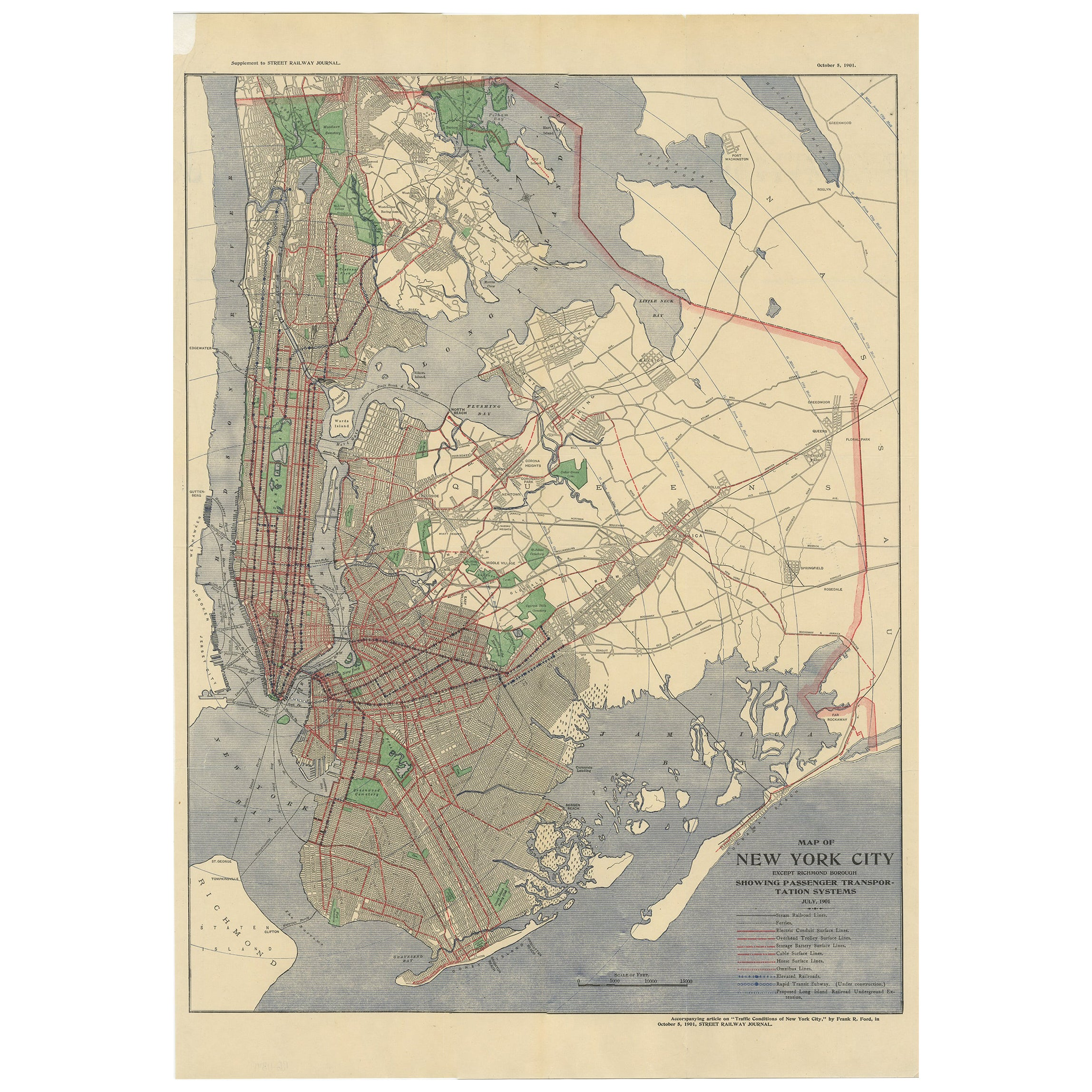 Antique Map of the Passenger Transportation Systems of New York, 1901
