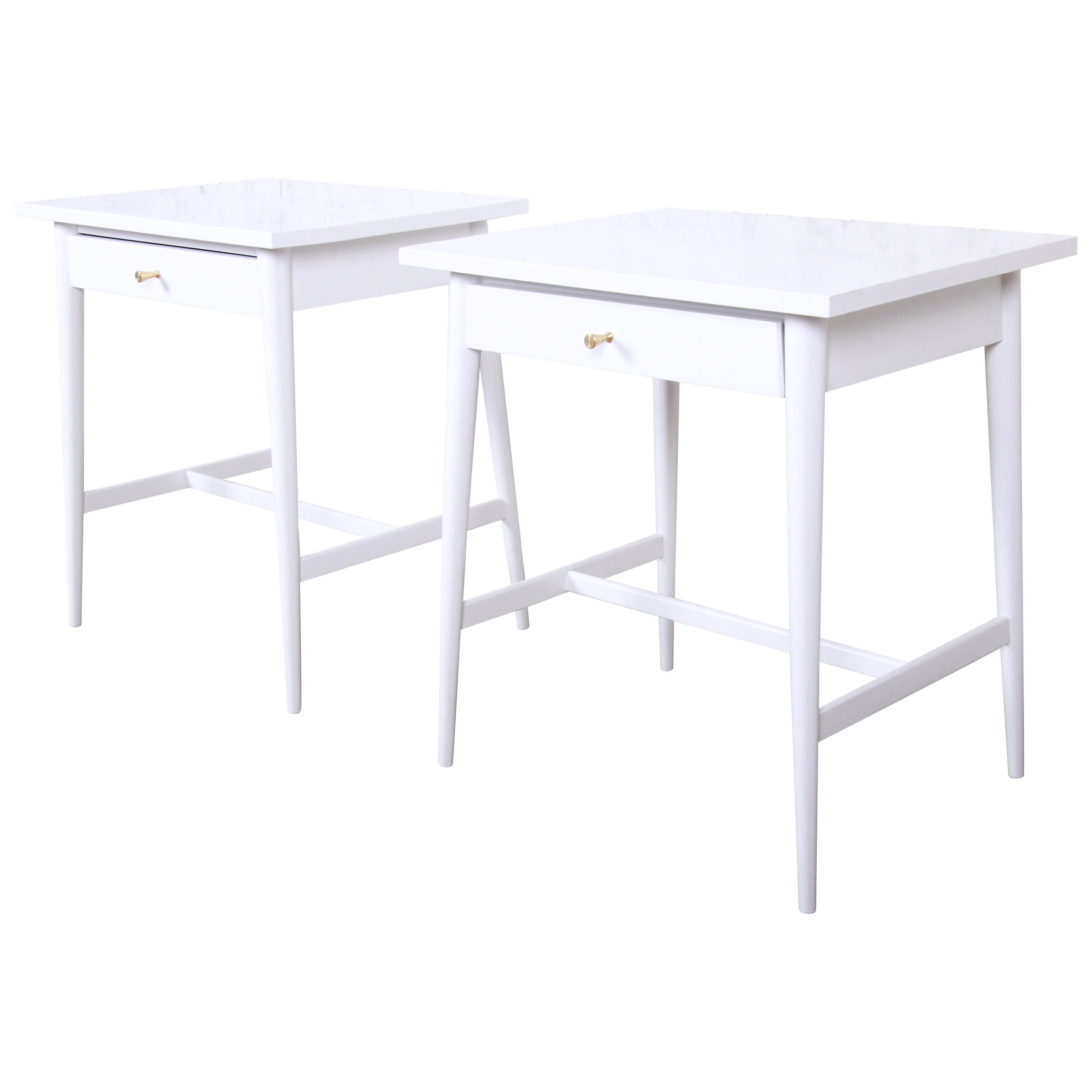 Paul McCobb Planner Group White Lacquered Nightstands, Newly Refinished