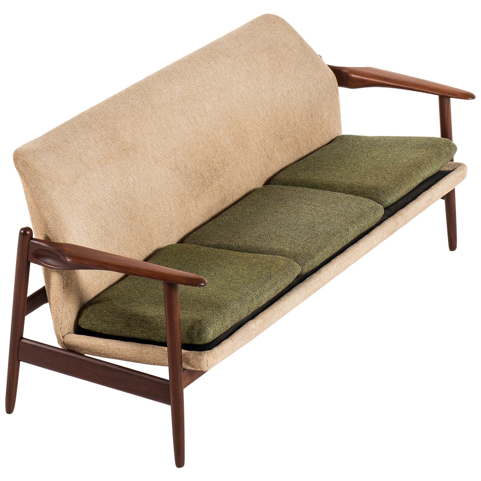 Scandinavian Sofa in Teak and Fabric Produced in Denmark