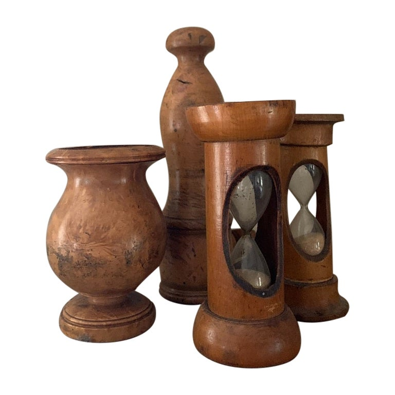Set of Kitchen Treen with 2 Hourglasses, One Candlestick Holder and Pepper Mill