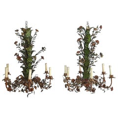 Pair of Midcentury Italian Tole and Flower Chandeliers
