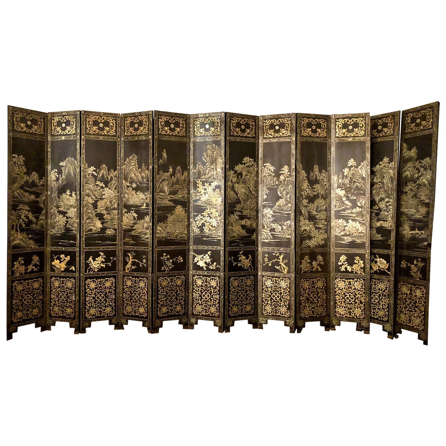 Antique Chinese Lacquered 12 Panel Screen, circa 1890-1910