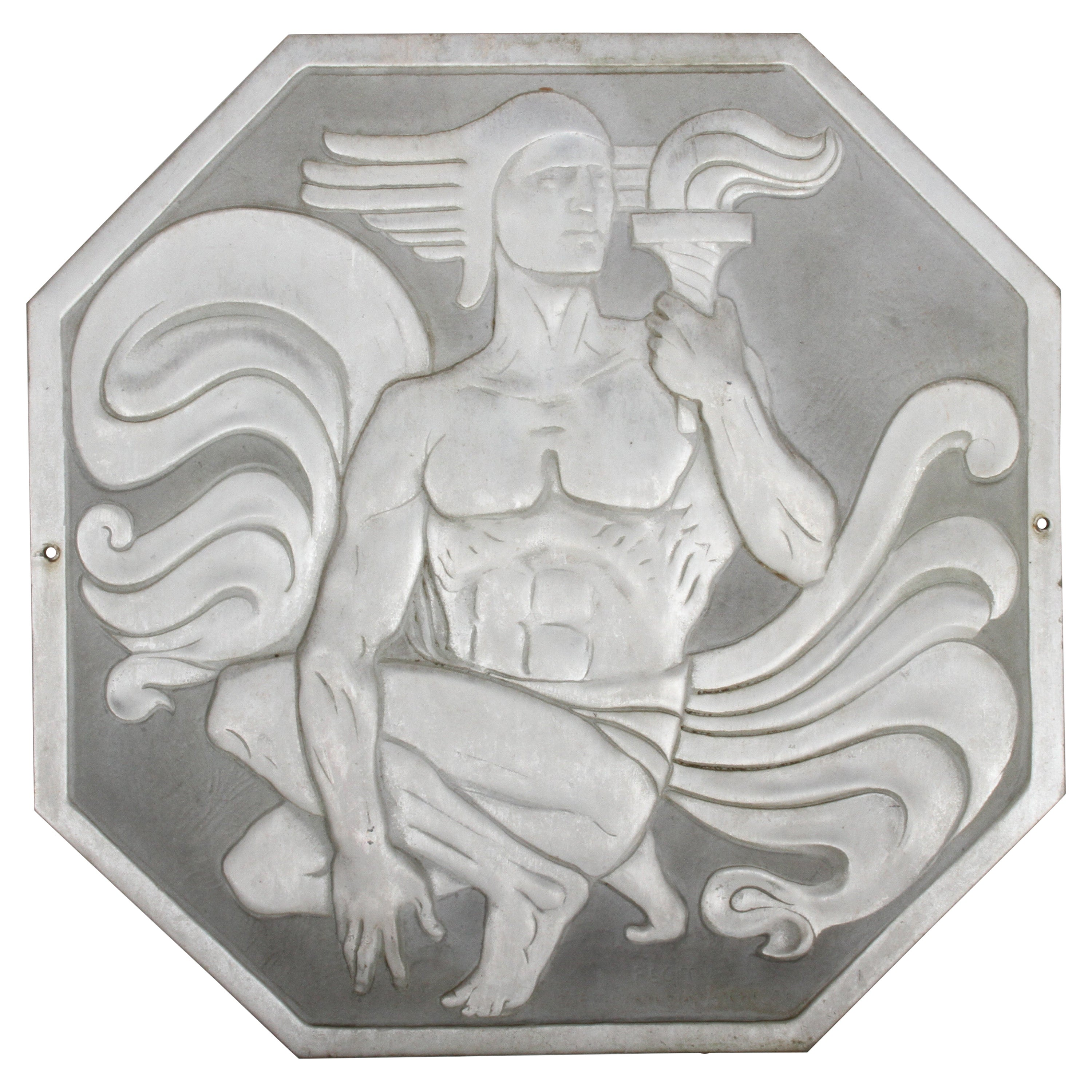"""Joseph Anthony Atchison Rare Art Deco Relief Panel """"Nude with Torch,"""""""