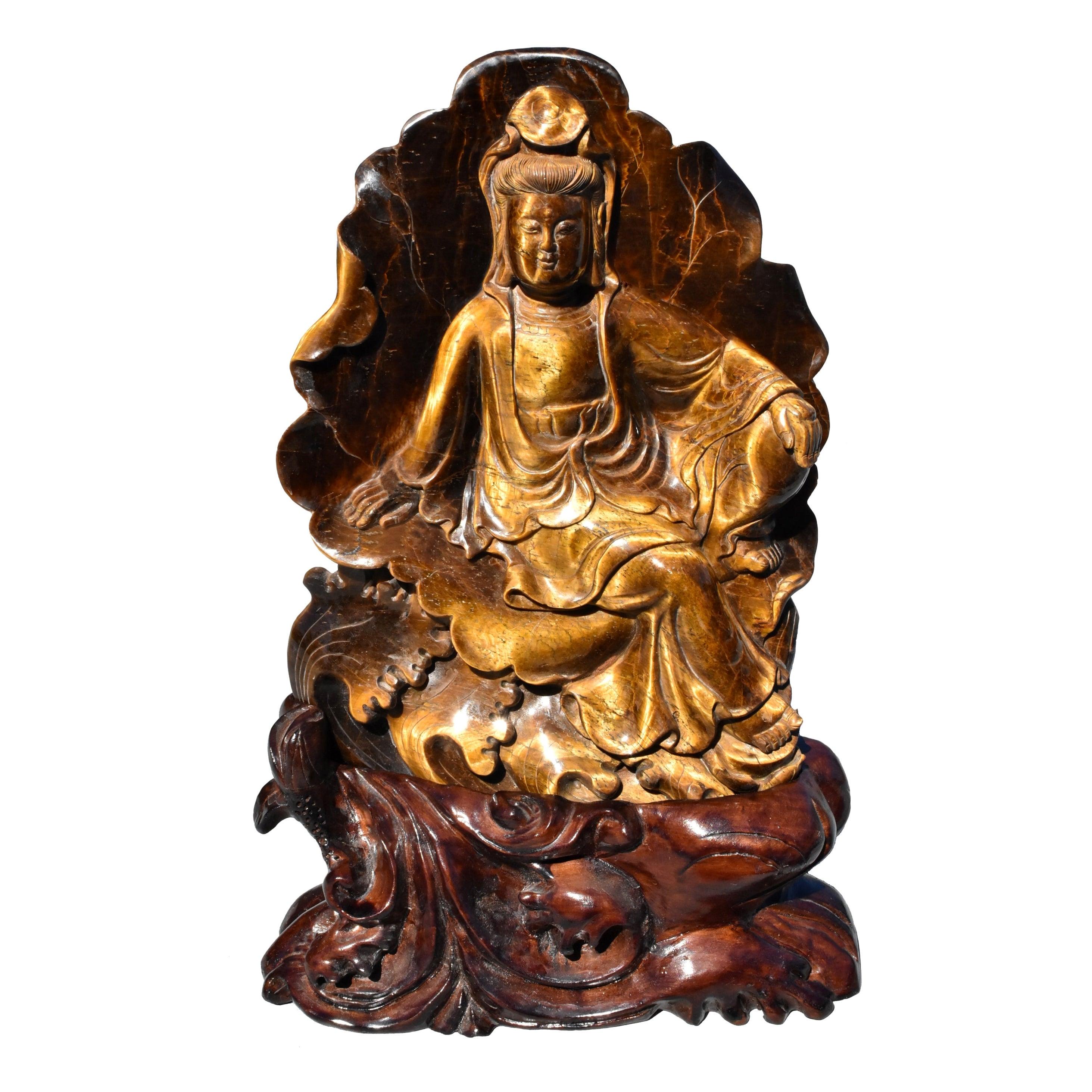 Tiger's Eye Water Moon Guan Yin Avalokiteshvara Buddha Statue