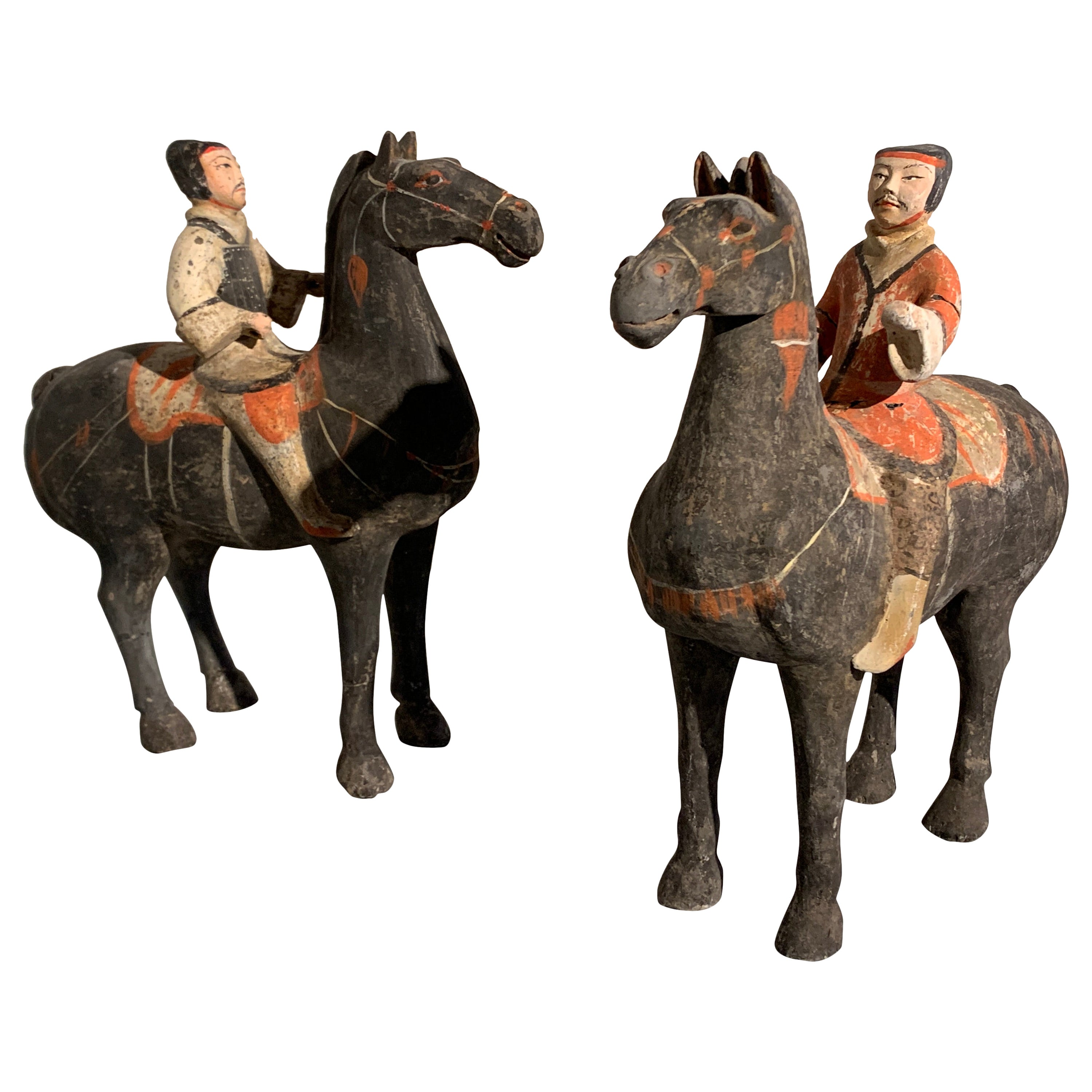 Pair of Chinese Painted Pottery Han Dynasty Horse and Riders