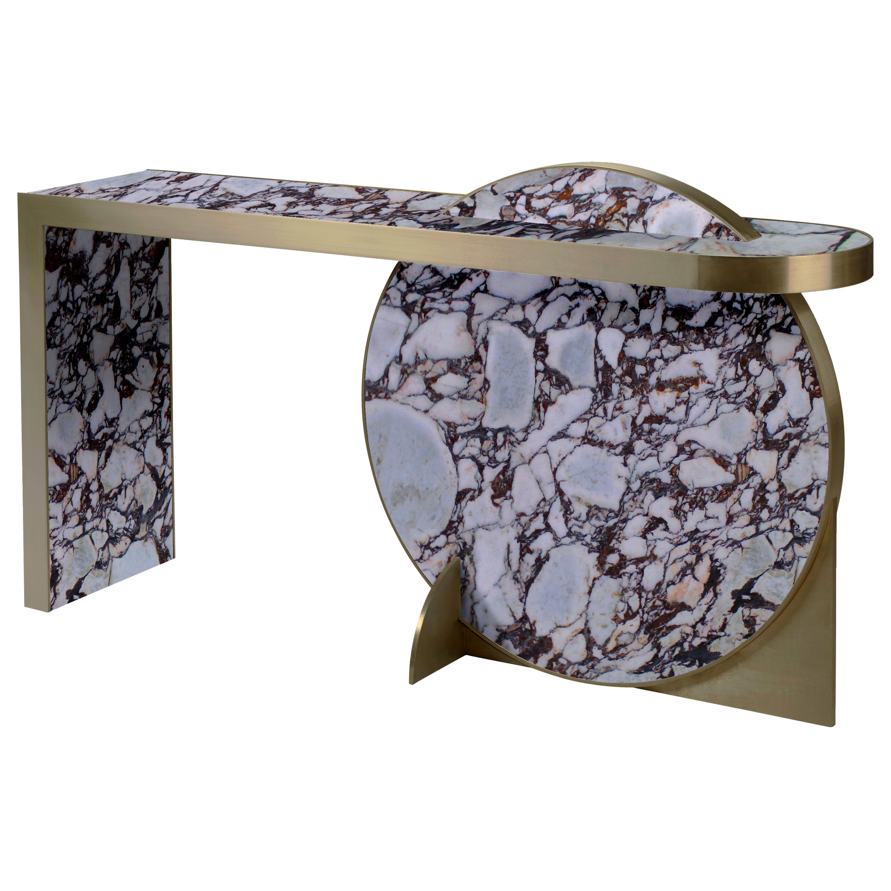 The Collision Console Carrara Marble and Brushed Brass, Viola, by Lara Bohinc