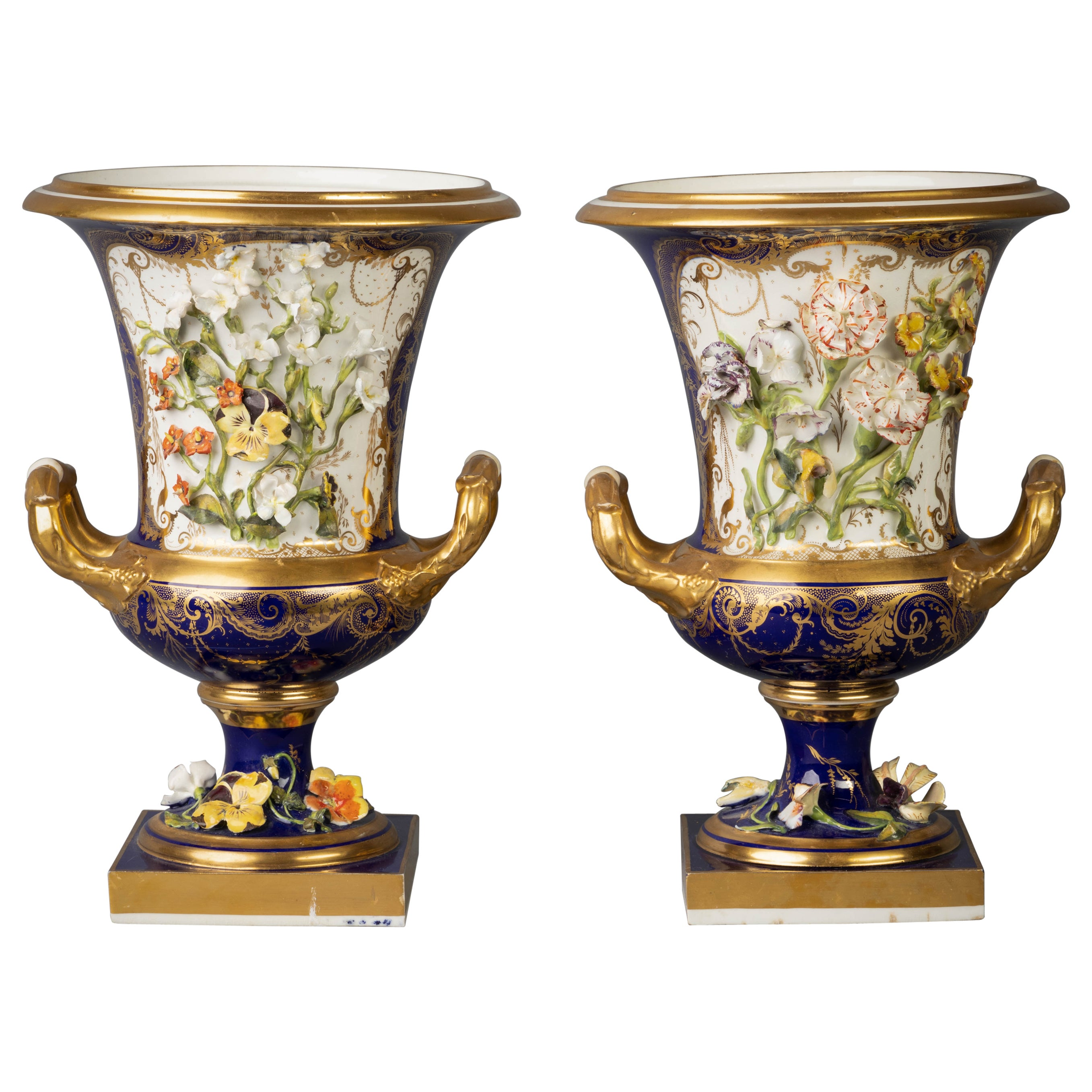 Pair of English Porcelain Two-Handled Vases, Derby, circa 1820