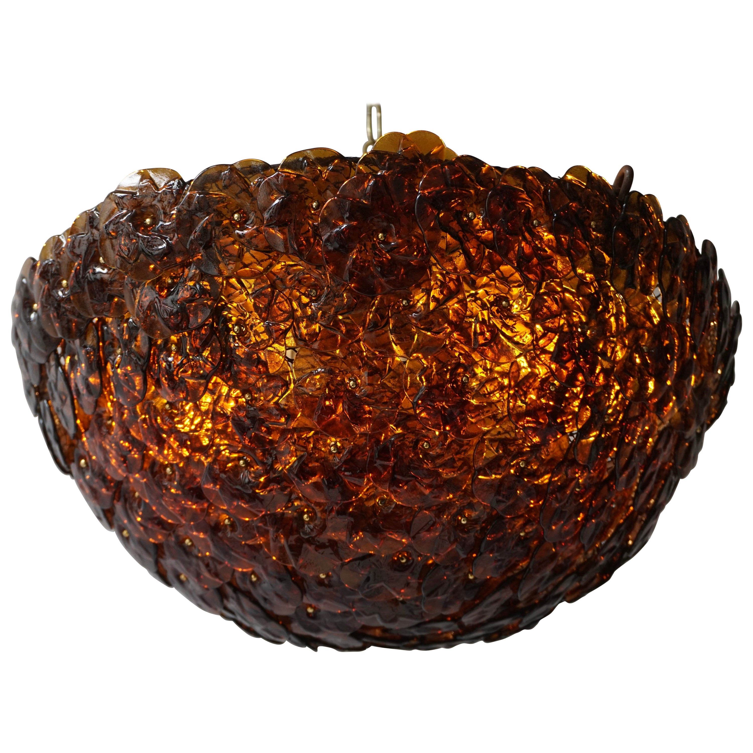 Murano Glass Flower Basket Flush Mount Wall Lamp by Barovier & Toso, 1960s