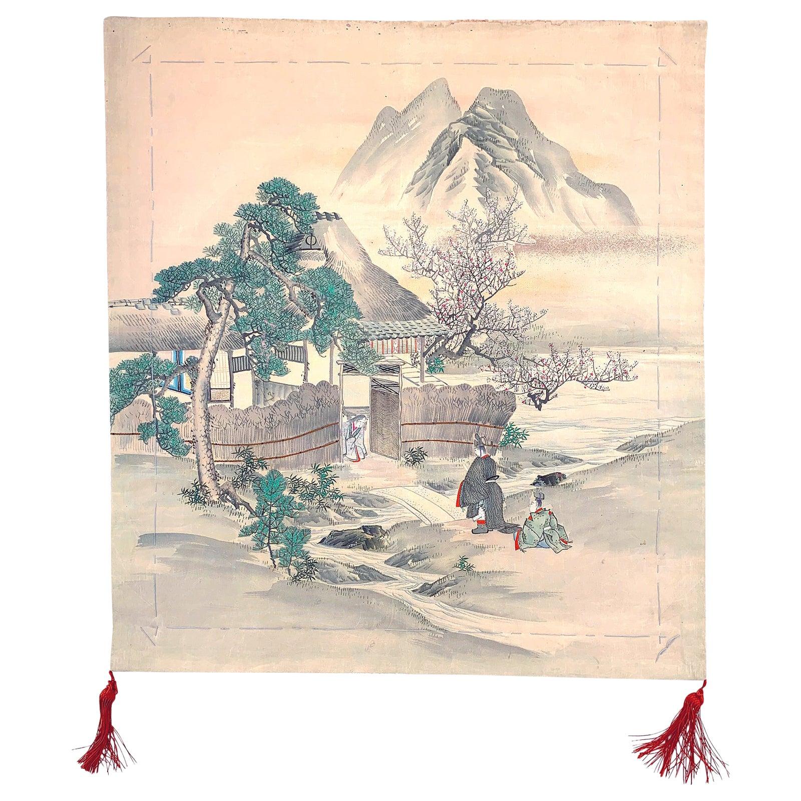 Japanese Antique Fukusa Textile Art Meiji Period