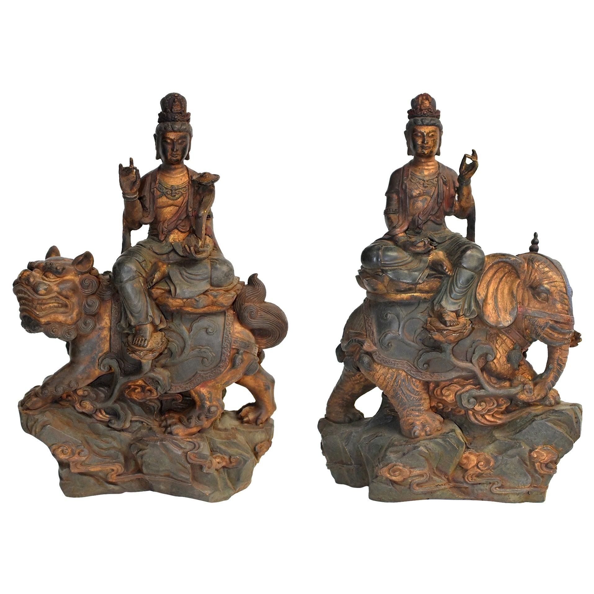 Pair of Antique Polychrome Bronze Avalokiteshvara Buddha Statues