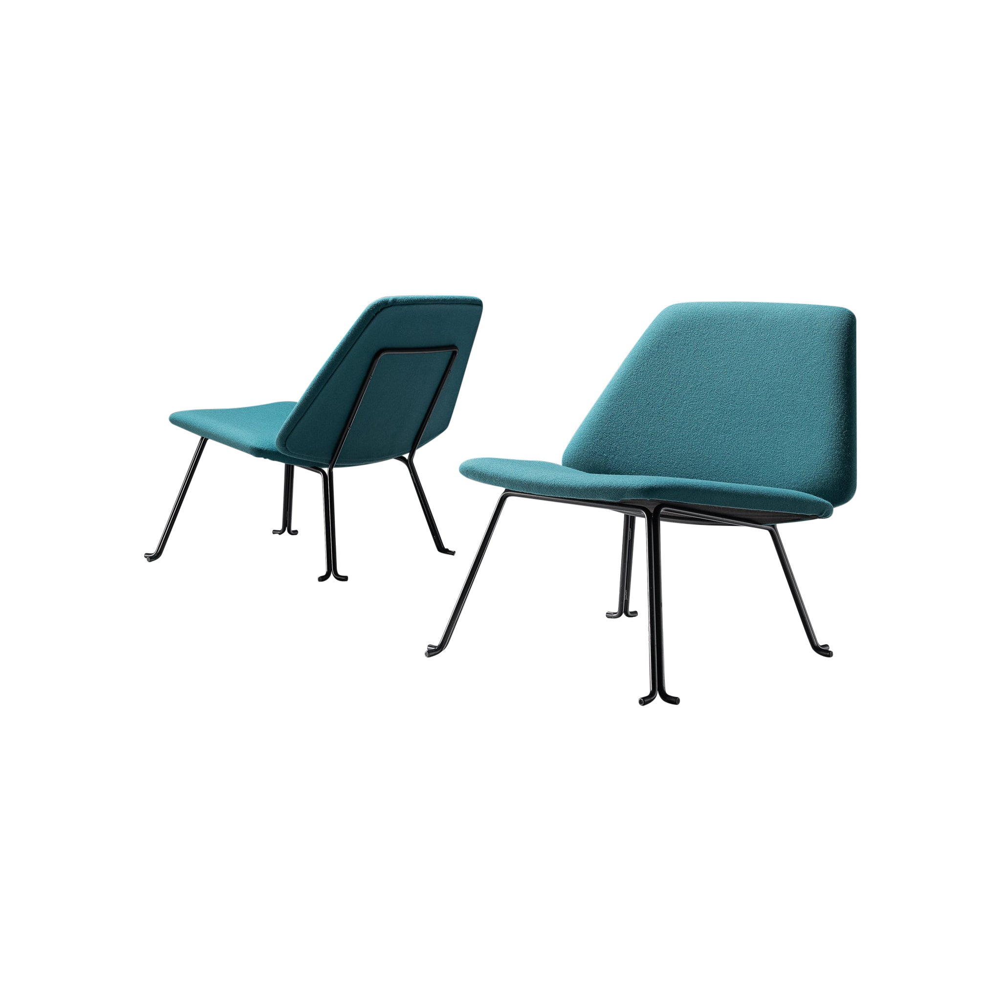 Pair of Italian Easy Chairs in Green Upholstery