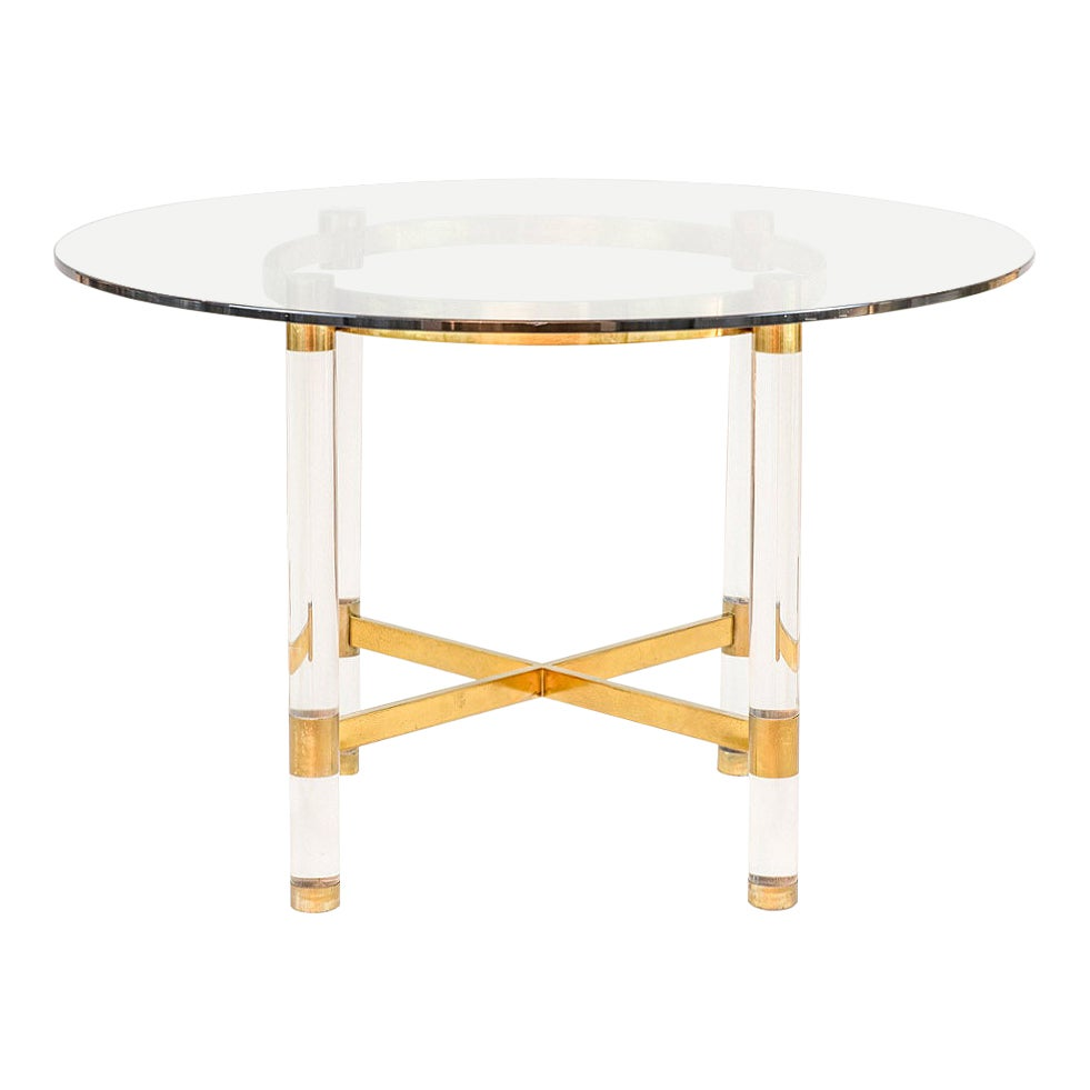 Sandro Petti, Table in Lucite and Gilt Brass, 1970s