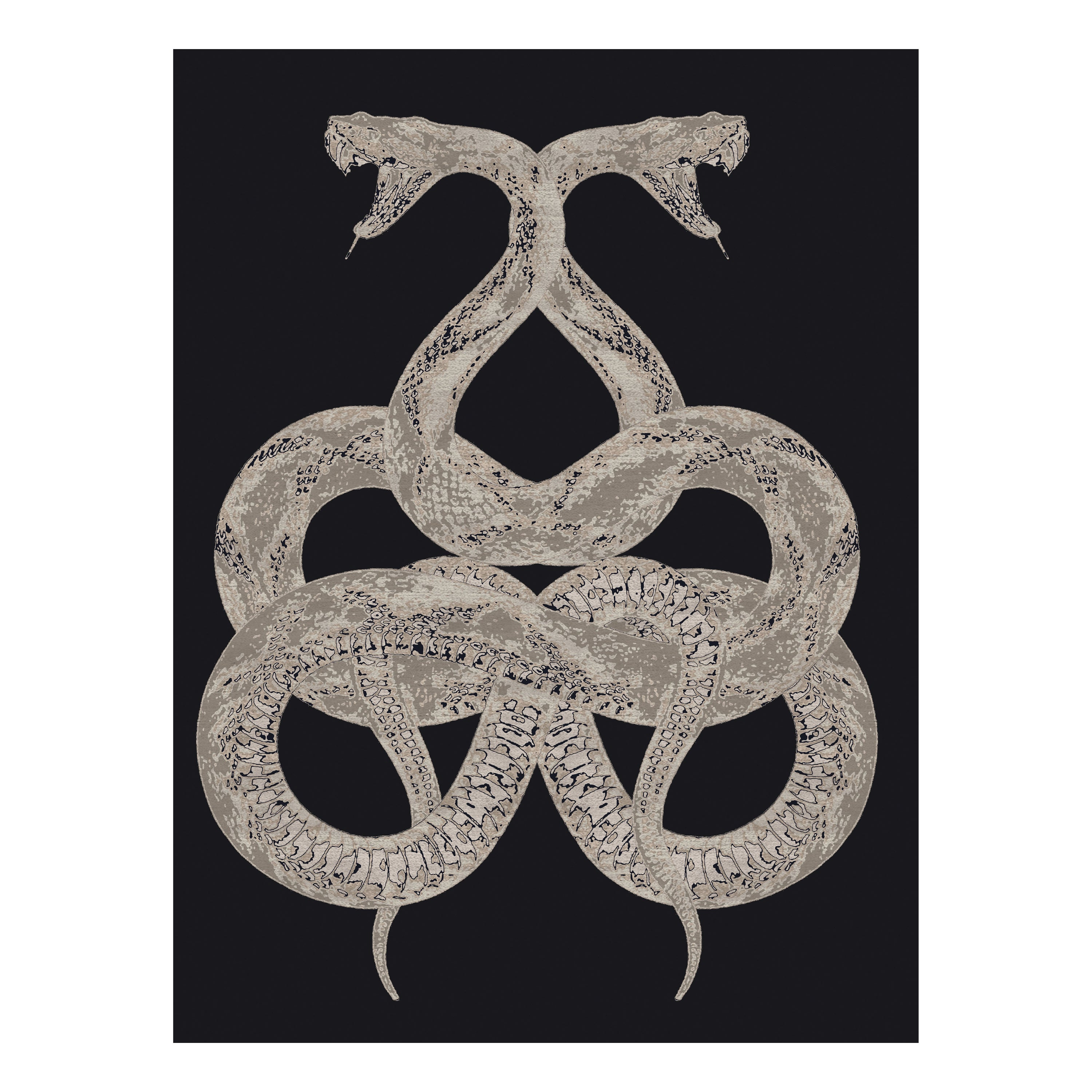 Snake Hand Knotted Rug in Wool and Viscose by Roberto Cavalli Home Interiors