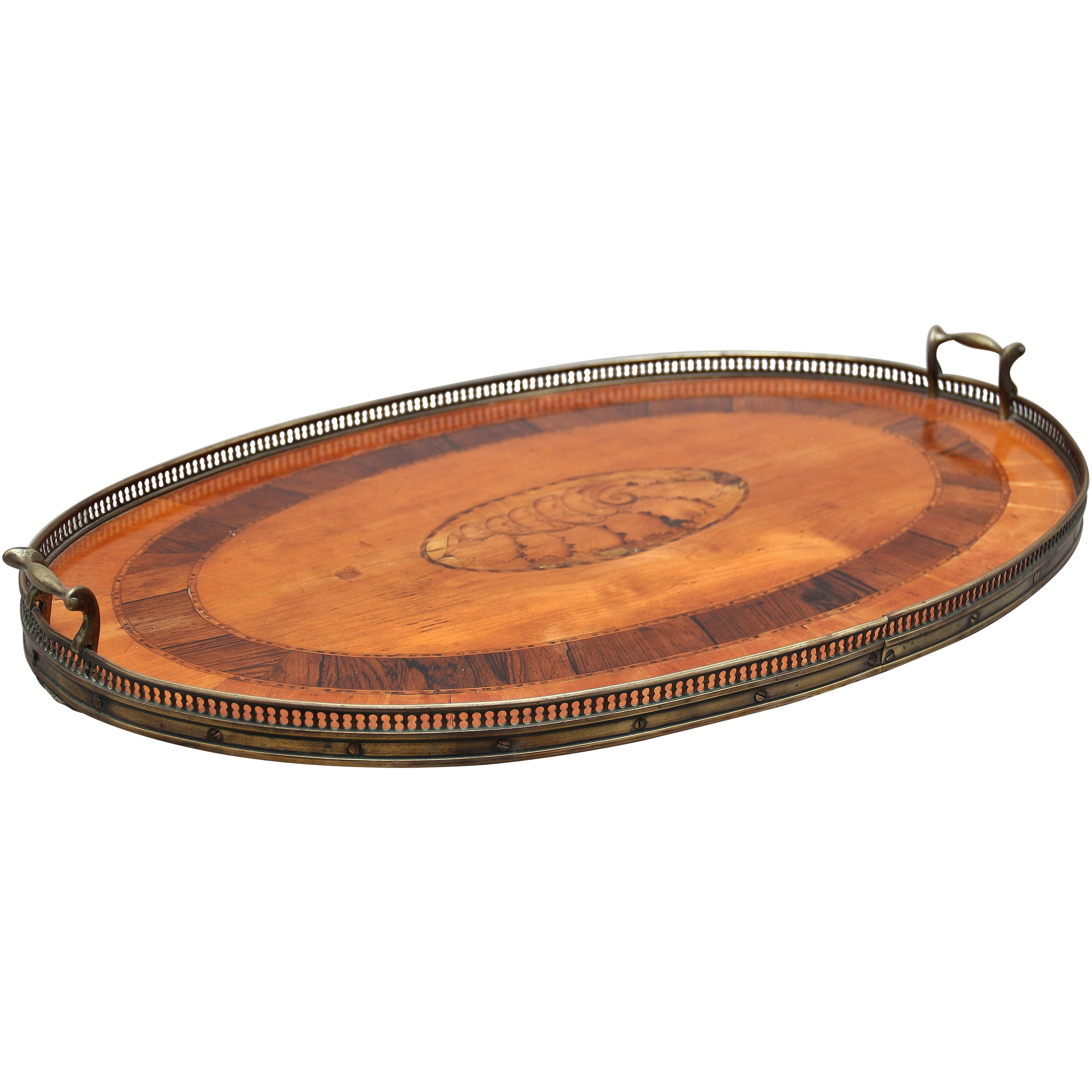 19th Century Satinwood, Brass and Inlaid Tray