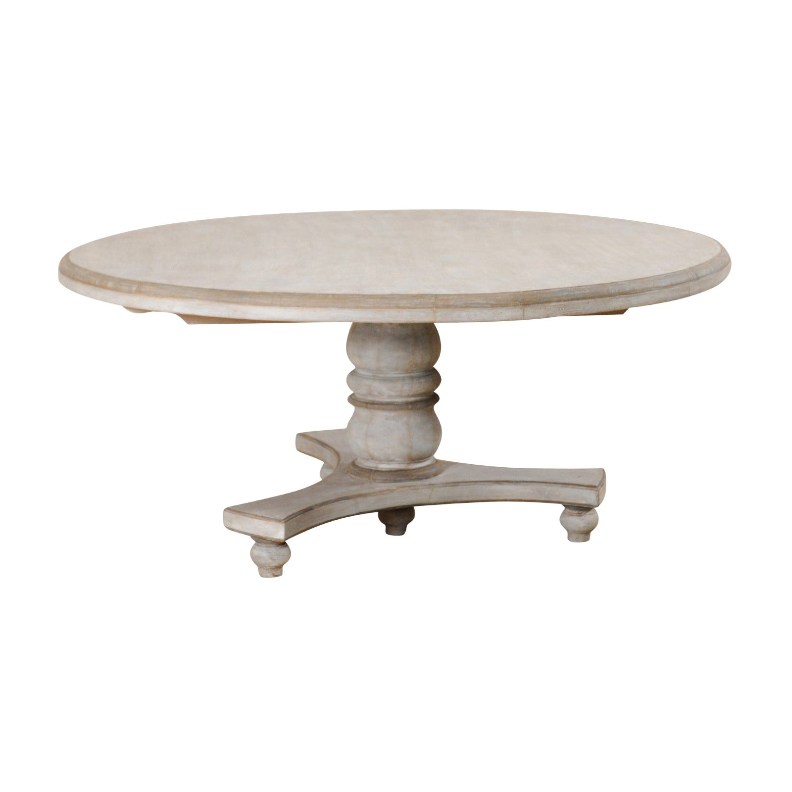 Round Shaped Top Painted Hardwood Pedestal Table